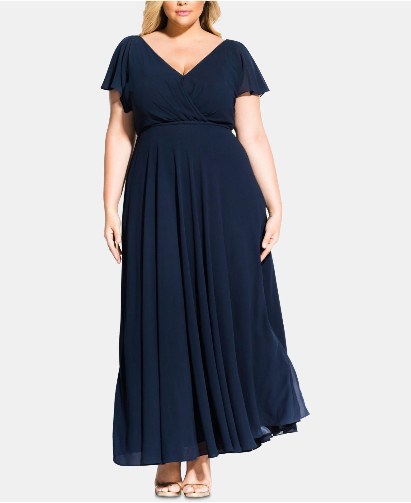 d9311acedb Lyst - City Chic Trendy Plus Size Sweet Wishes Maxi Dress in Blue