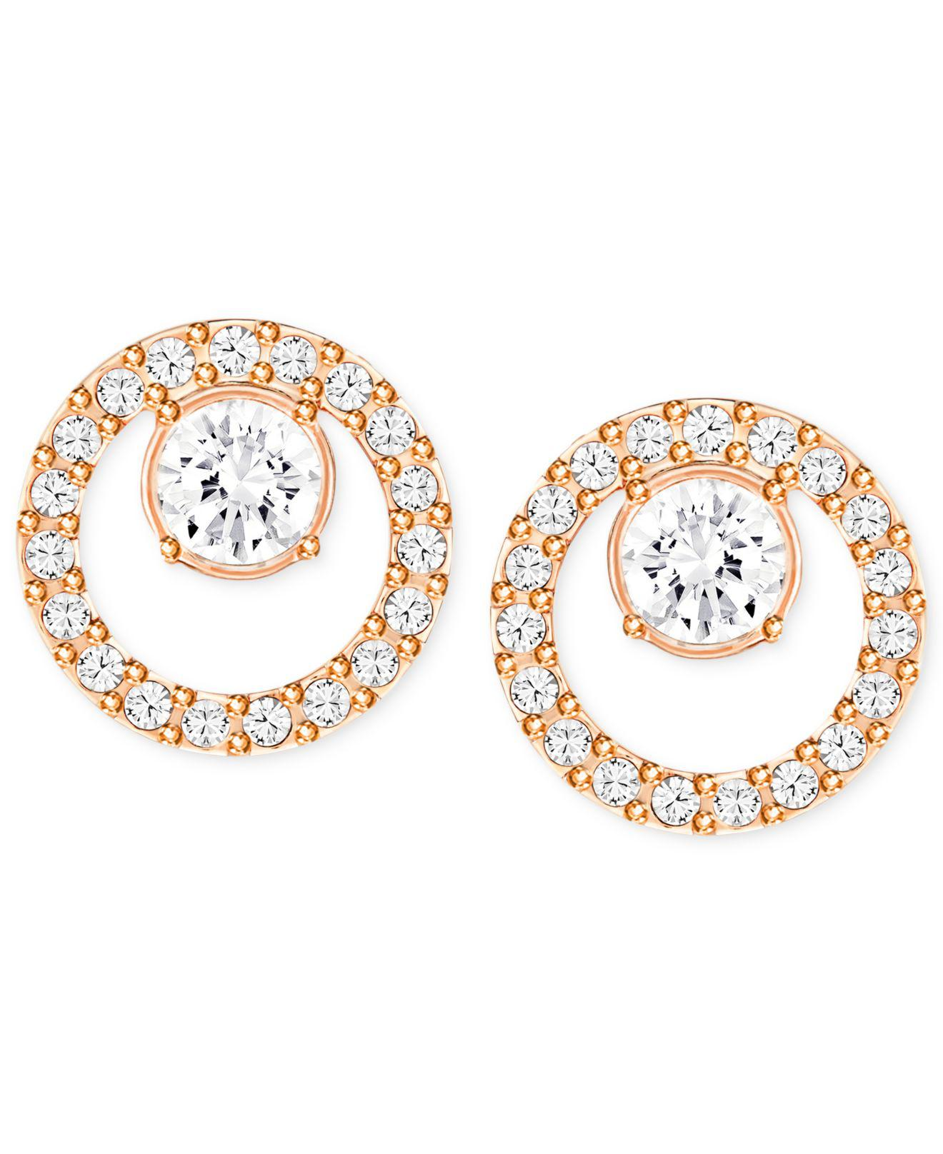 Lyst Swarovski Rose Gold Tone Pavé Circle And Crystal Stud Earrings In Metallic