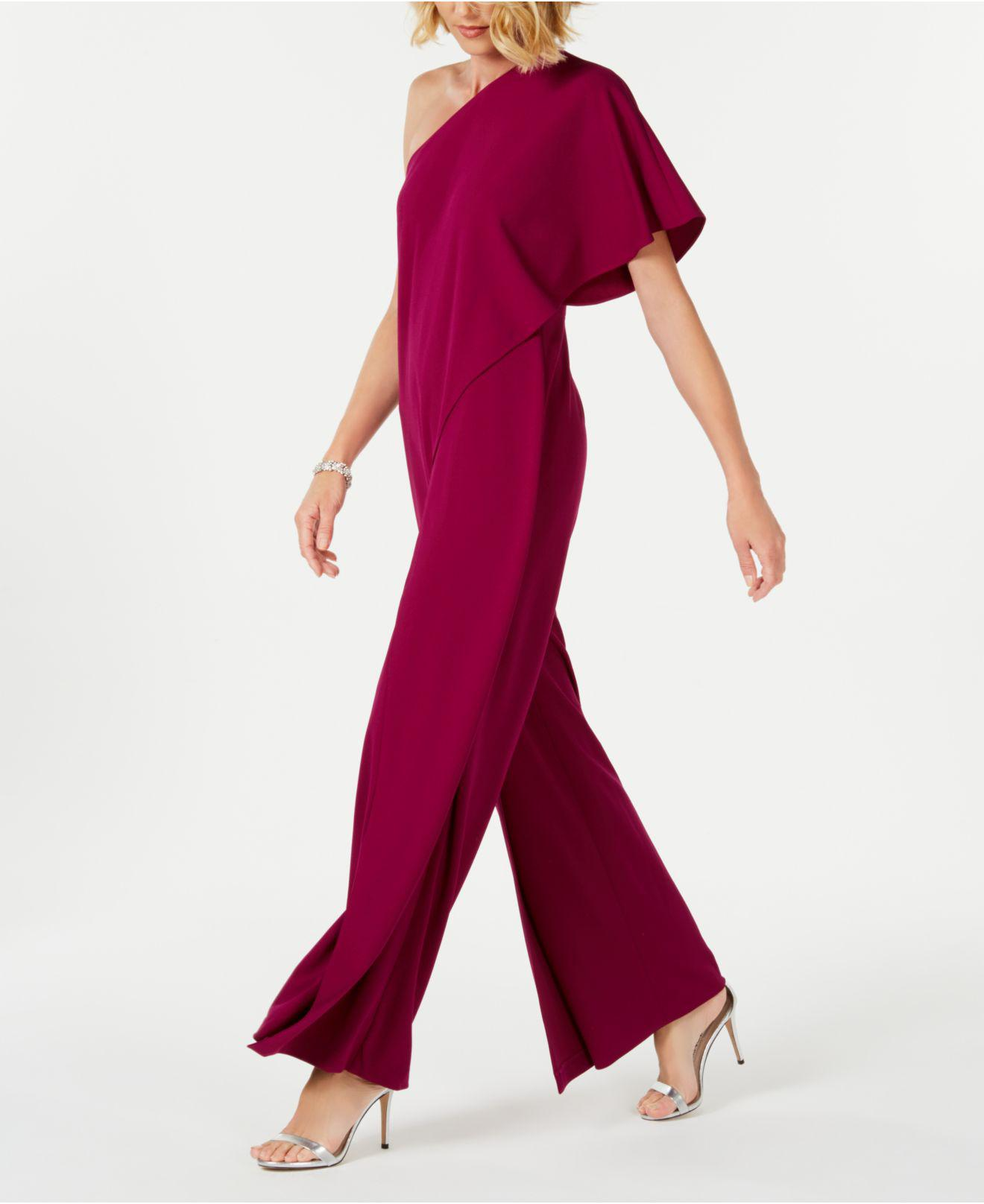 adc990e893a Lyst - Adrianna Papell Petite Draped One-shoulder Jumpsuit in Red