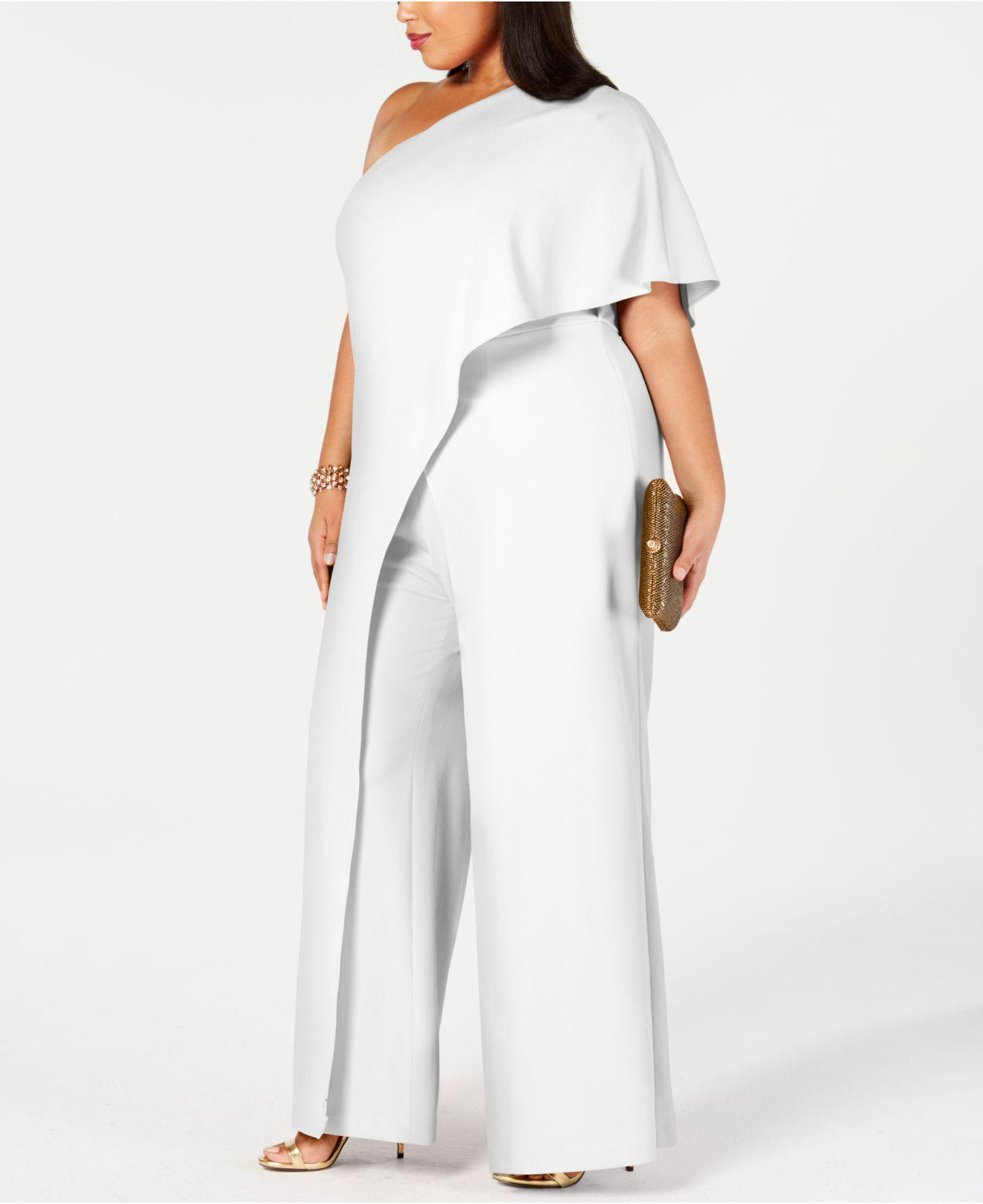 673d3064d14c Lyst - Adrianna Papell Plus Size Draped One-shoulder Jumpsuit in White