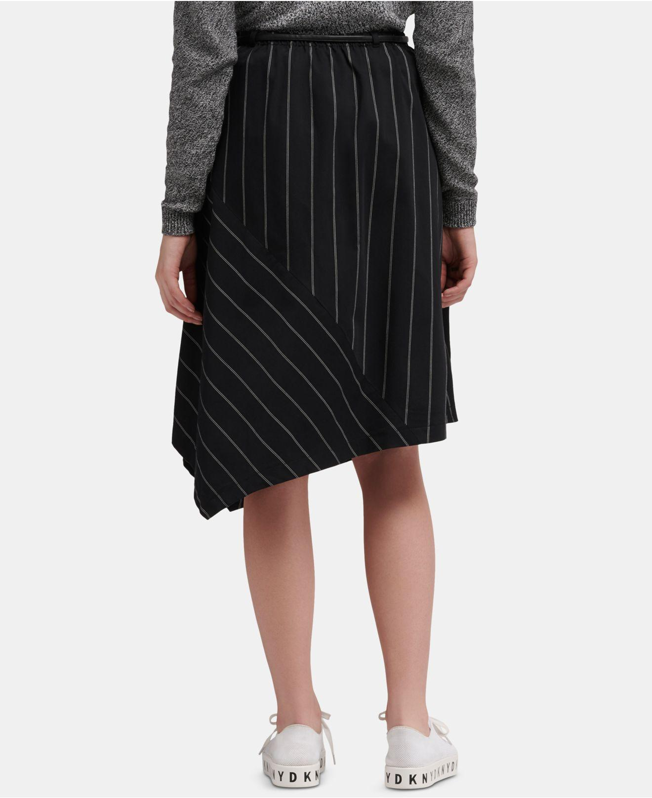 e71f5efe7 Lyst - DKNY Striped Asymmetrical-hem Skirt With Faux-leather Belt in Black