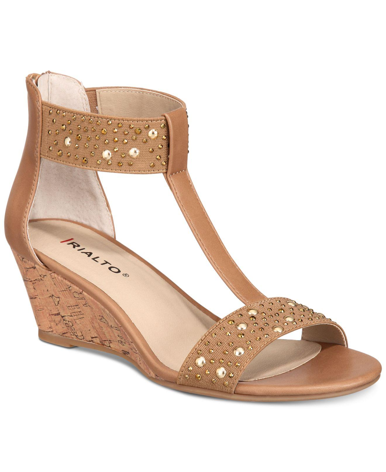 d61fd806dd Lyst - Rialto Cleo Embellished Wedge Sandals in Natural