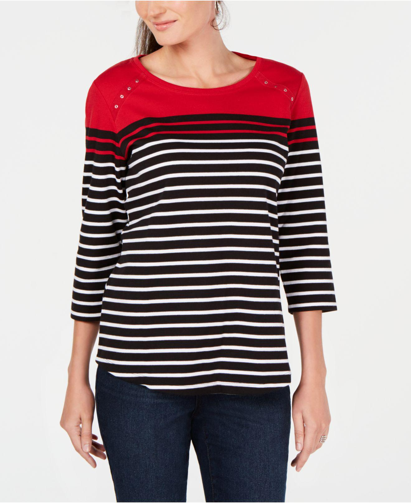 e07f11cee Karen Scott. Women s Red Colorblocked Striped Top