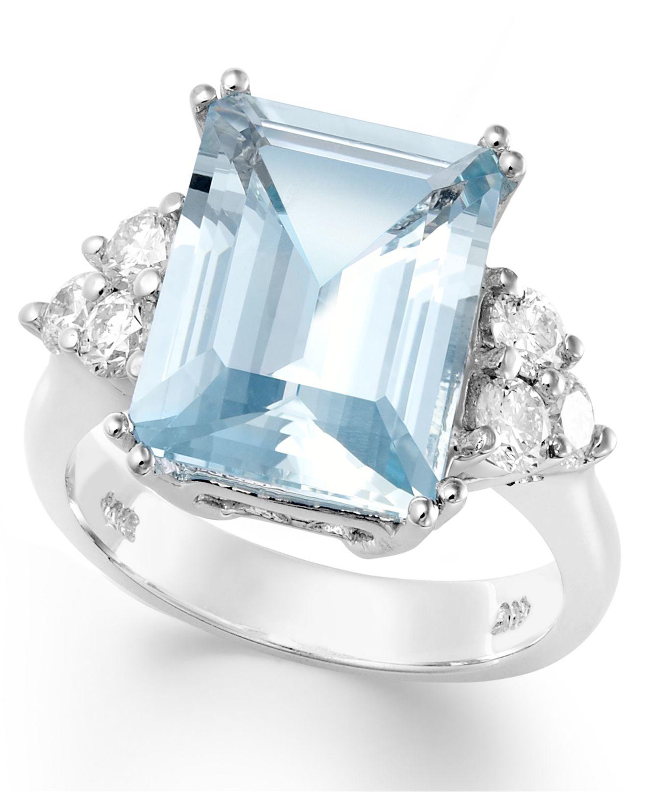 Macy's 14k White Gold Ring, Aquamarine (5-1/2 Ct. T