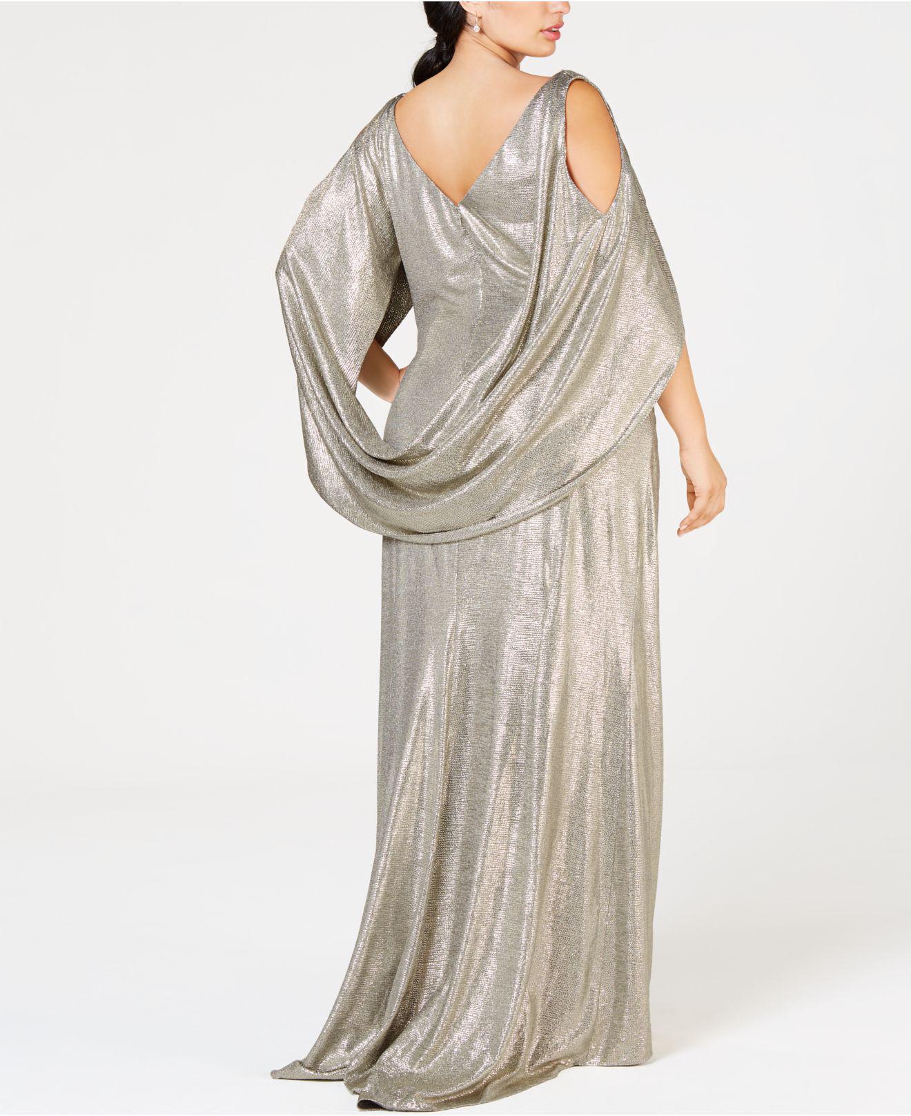 7fa0f811e06 Betsy   Adam Plus Size Metallic Cold-shoulder Cape Gown in Metallic ...