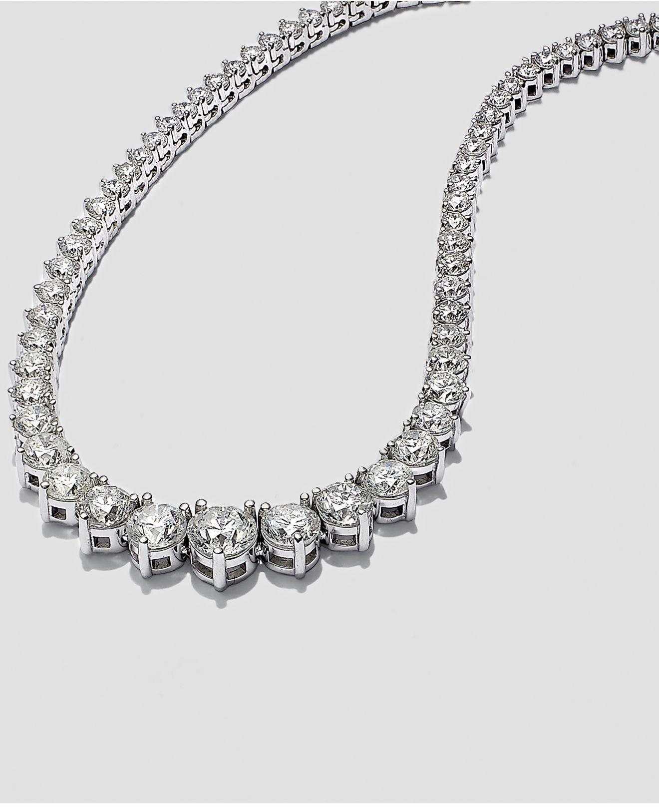 eb86d614be3c5 Lyst - Macy s Certified Diamond Riviera Chain Necklace In 14k White Gold  (10 Ct. T.w.)