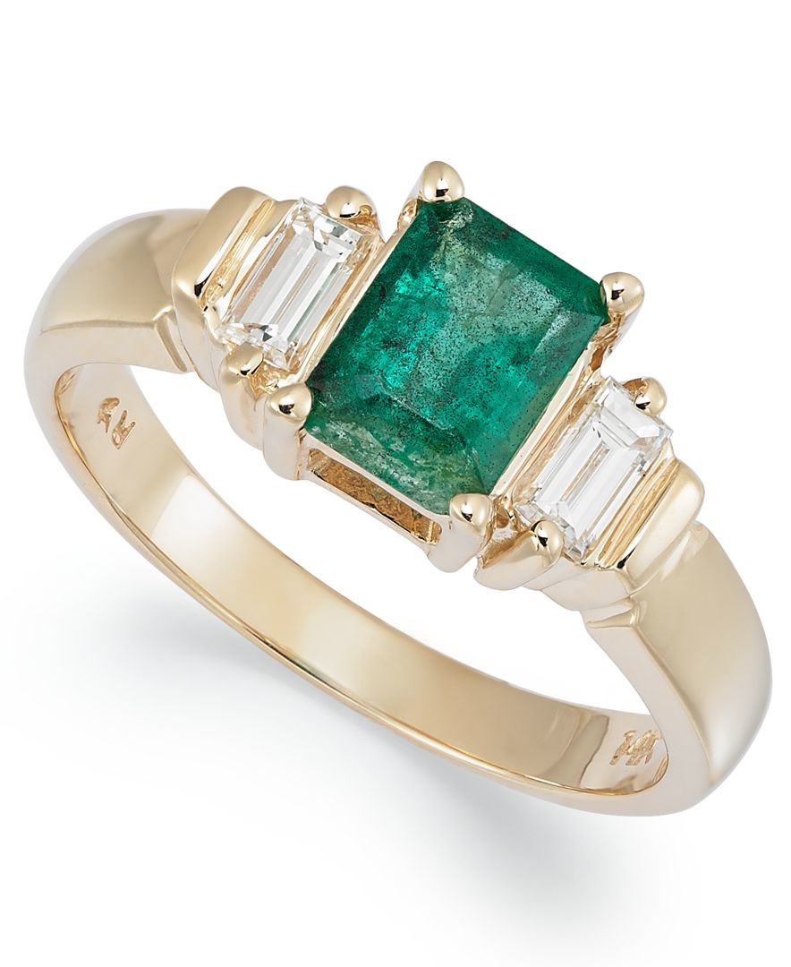 macy 39 s 14k gold ring emerald 1 ct t w and diamond 1