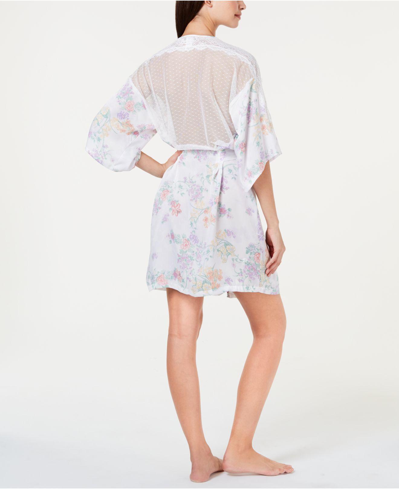 c4aec78982 Lyst - Linea Donatella Luna Bouquet Lace Trim Flower-print Wrap Robe Lub130  in White