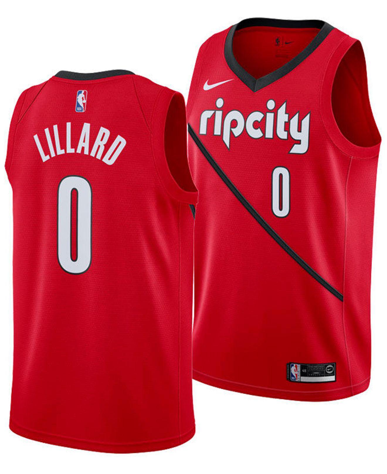 16eef8015 Nike. Men s Red Damian Lillard Portland Trail Blazers Earned Edition  Swingman Jersey