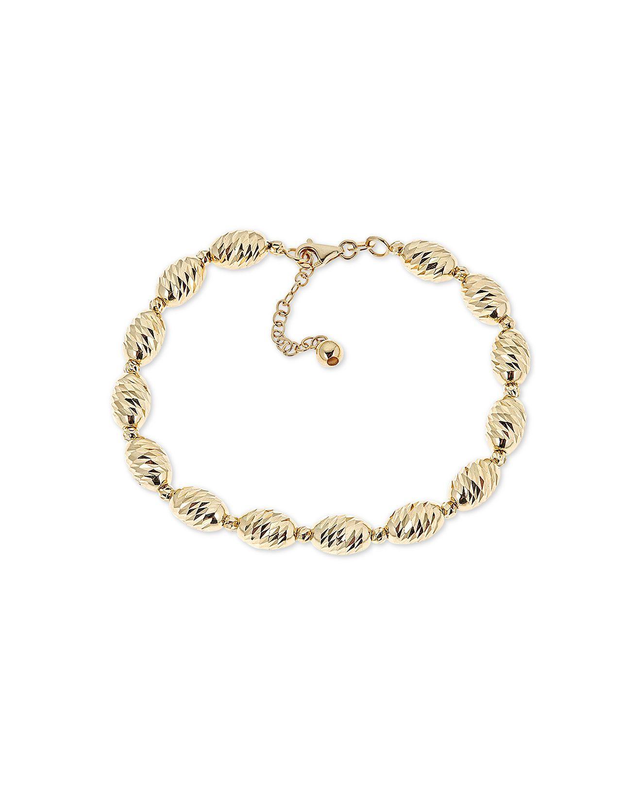 6d95cfc7b0bed4 Macy's - Metallic Textured Bead Link Bracelet In 14k Gold - Lyst. View  fullscreen