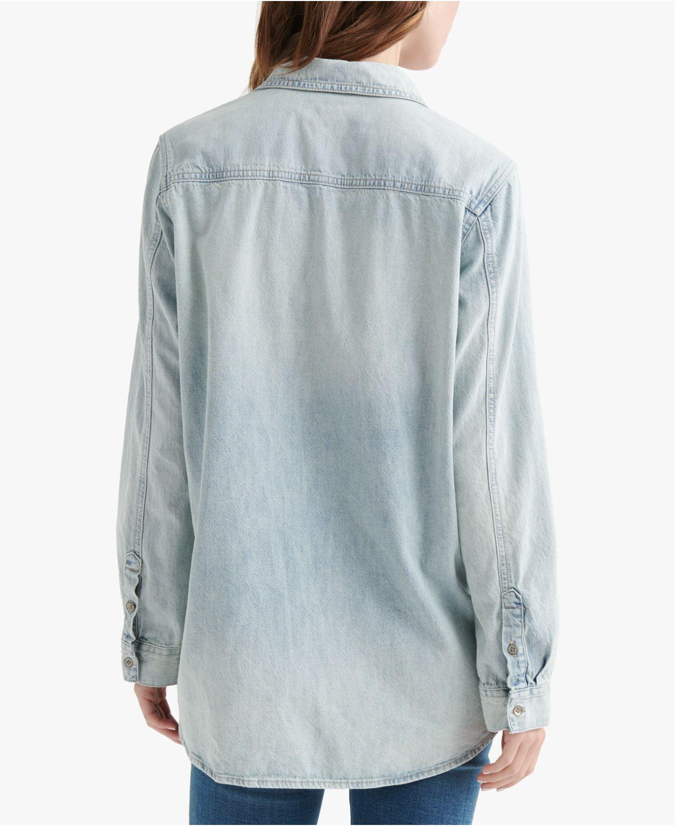 4dac5798a5771 Lyst - Lucky Brand Cotton Embroidered Boyfriend Shirt in Blue