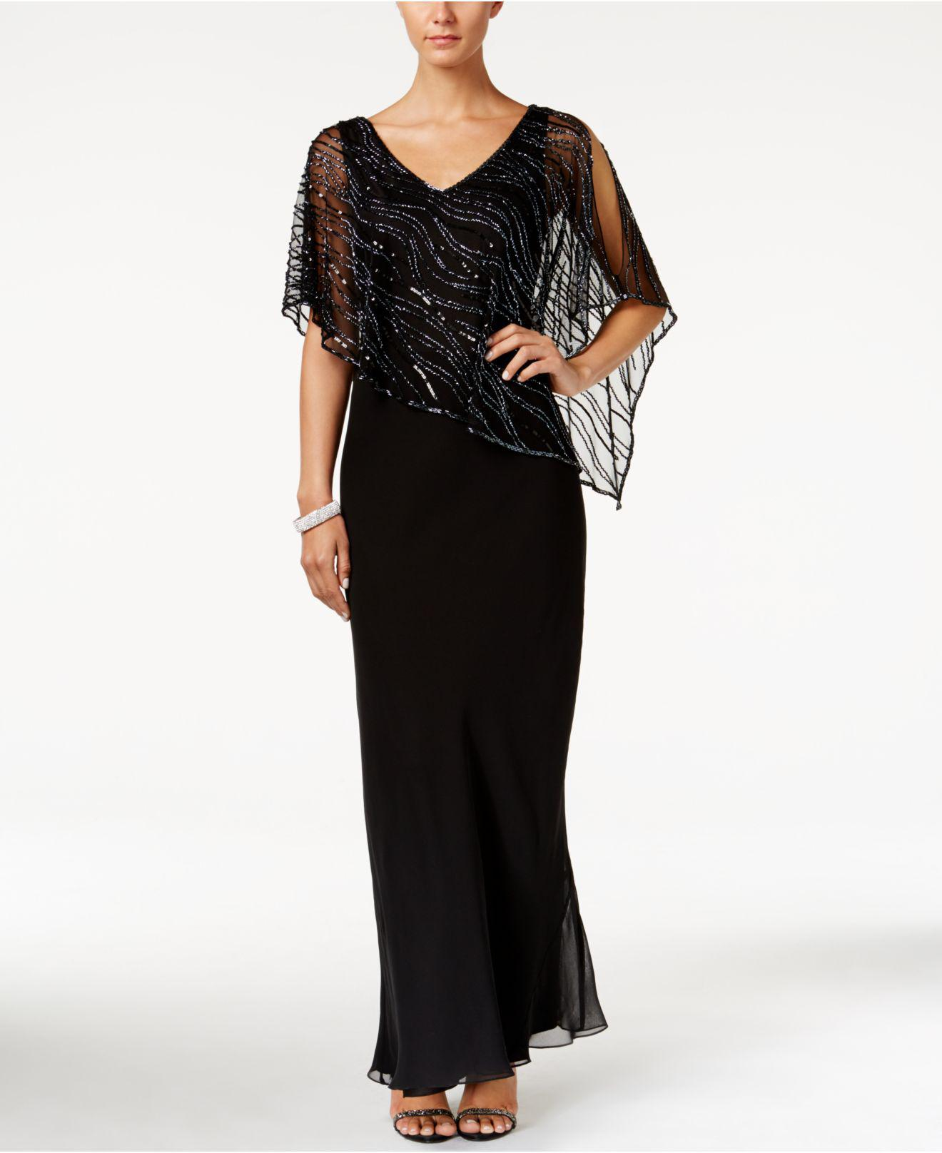 Lyst J Kara Embellished Illusion Overlay Crepe Gown In Black