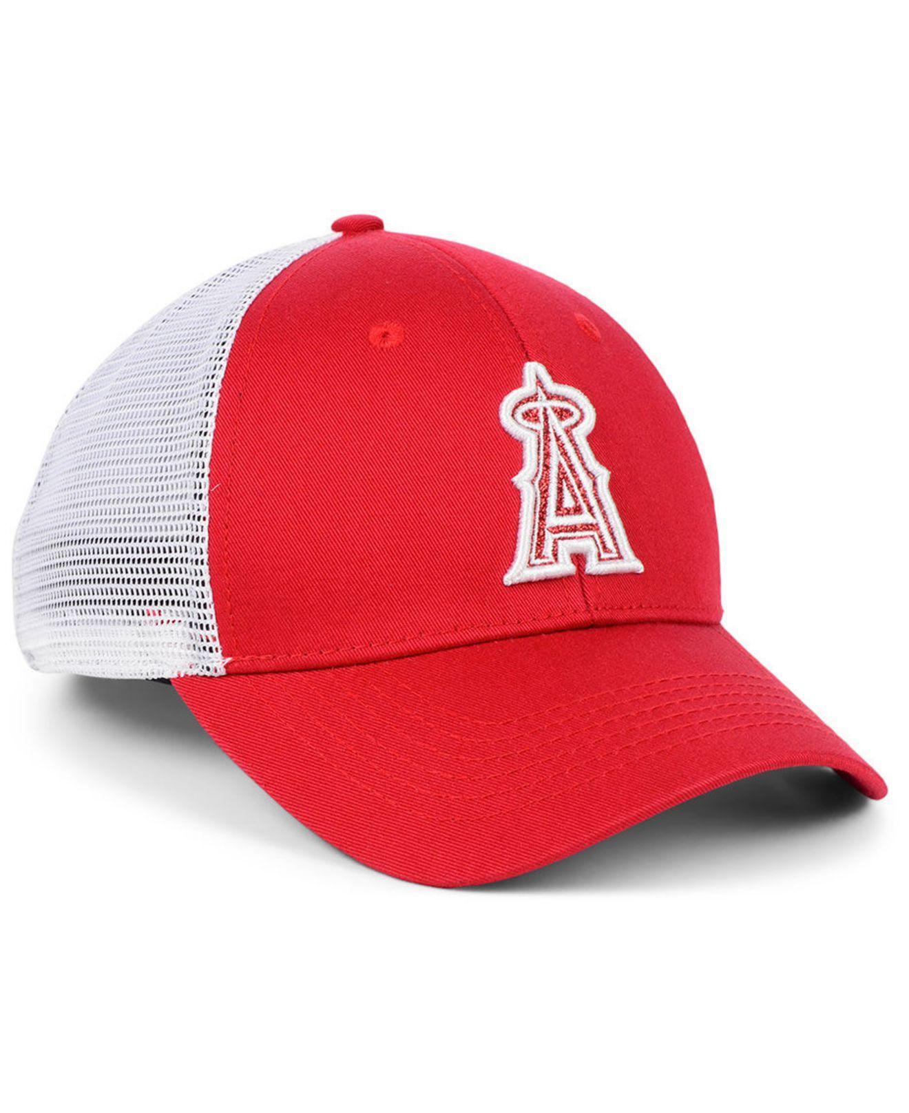 timeless design 1c5b5 e8c44 Lyst - 47 Brand Los Angeles Angels Branson Glitta Trucker Strapback Cap in  Red