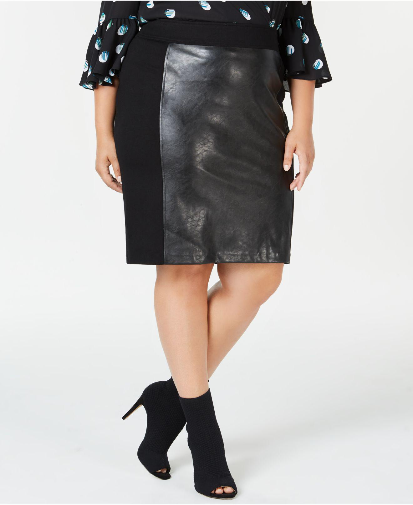 7aedf561e Plus Size Black Leather Pencil Skirt