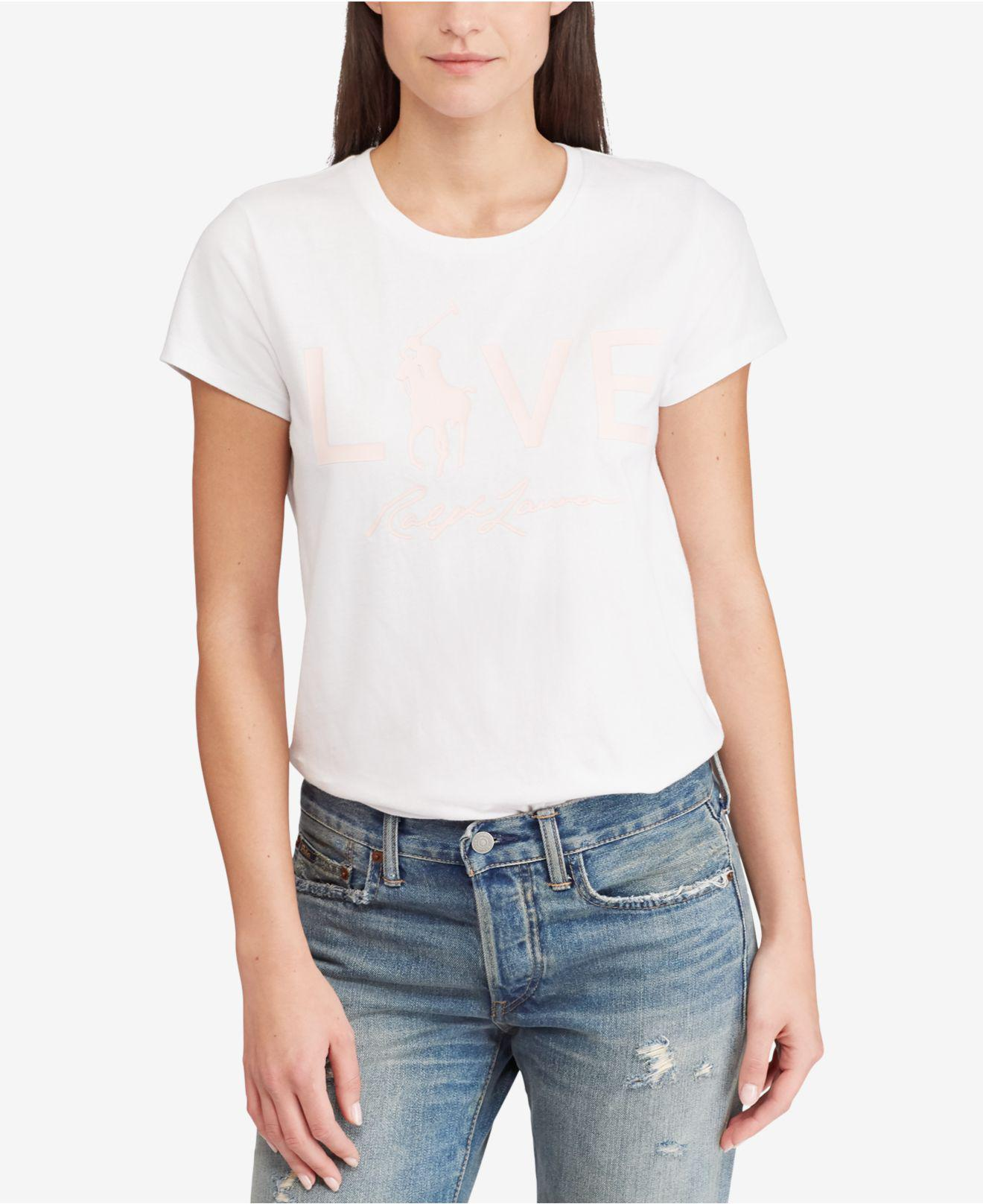 c463d7af9 Lyst - Polo Ralph Lauren Pink Pony Graphic Cotton T-shirt in White ...