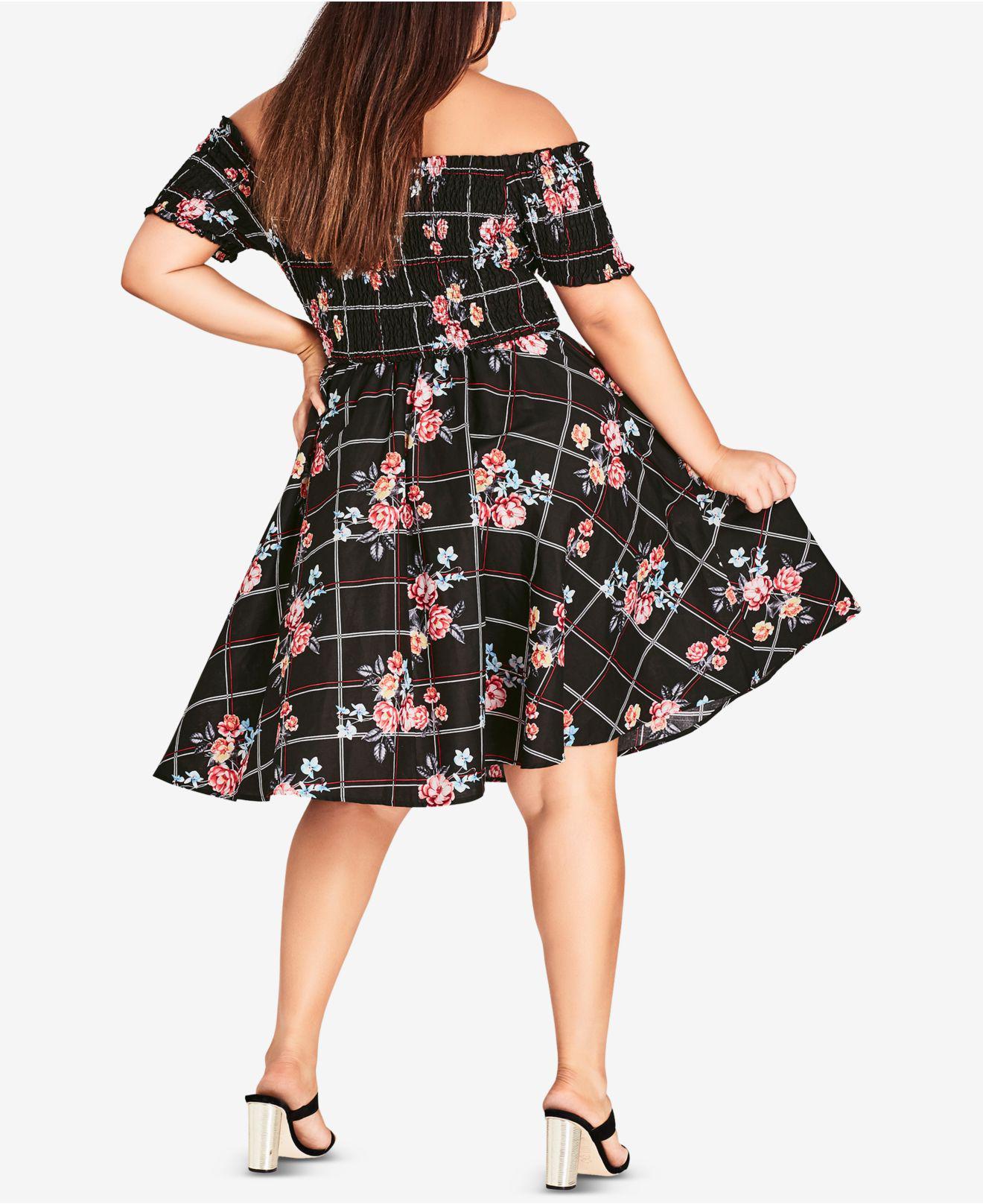 2eba8d6b1a1 Lyst - City Chic Trendy Plus Size Picnic Bouquet Cotton Printed Off-the-shoulder  Dress in Black - Save 9.174311926605498%