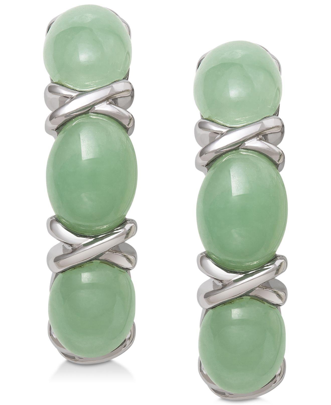 b67de02cf Macy's Dyed Jade (5mm X 7mm) Curved Drop Earrings In Sterling Silver ...