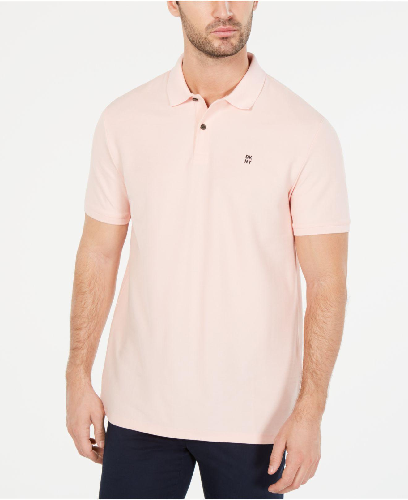 834b841e DKNY Solid Polo Shirt in Pink for Men - Lyst