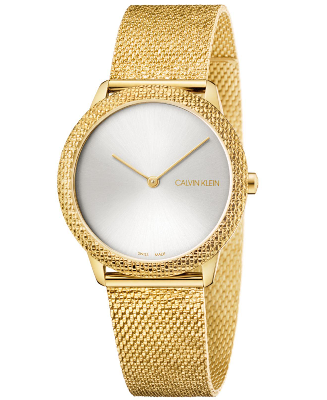 603e3db450 Calvin Klein - Metallic Swiss Minimal Yellow Gold-tone Pvd Stainless Steel  Mesh Bracelet Watch. View fullscreen