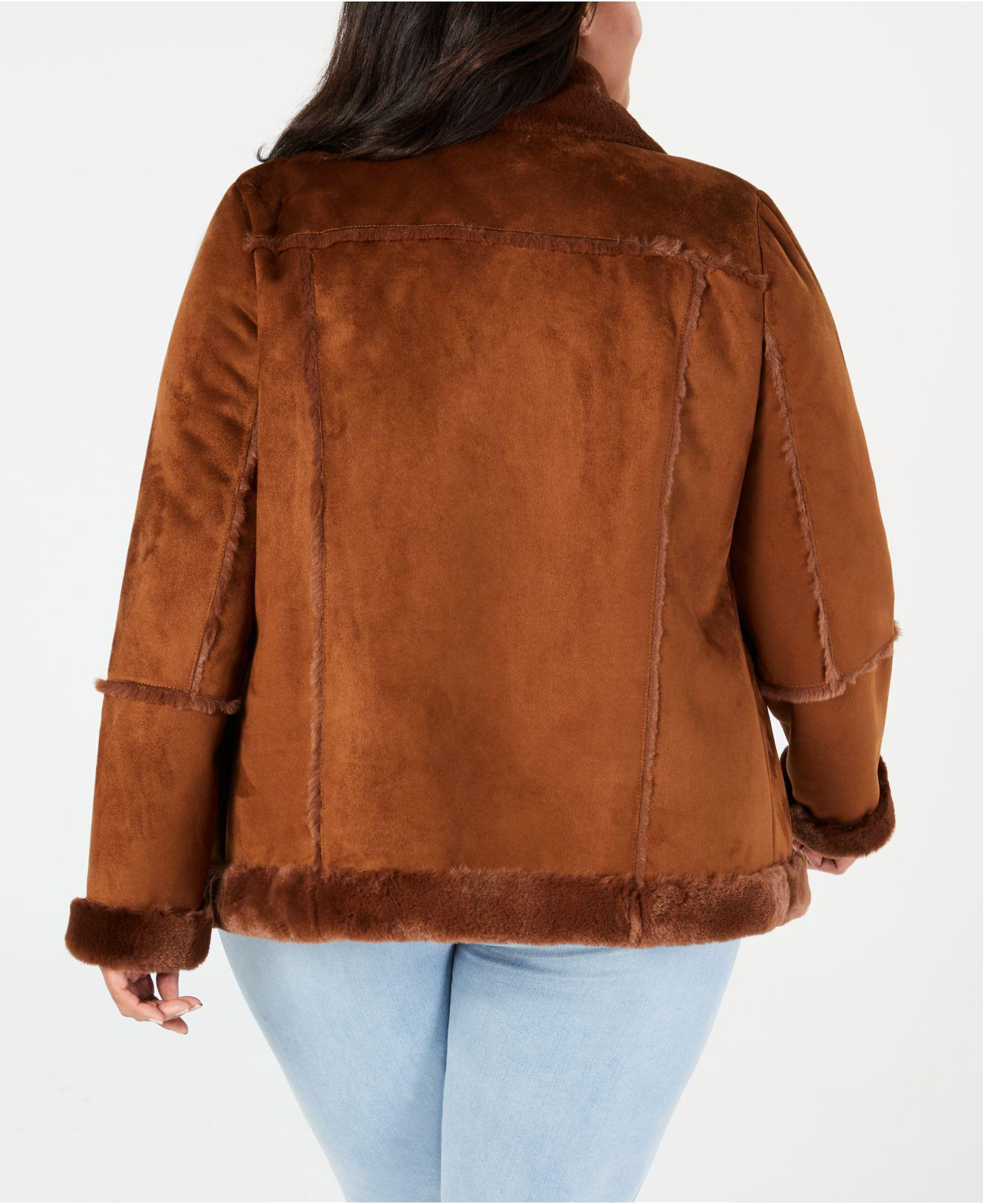 0397b984cc3 Lyst - Style   Co. Plus Size Faux-shearling Moto Jacket