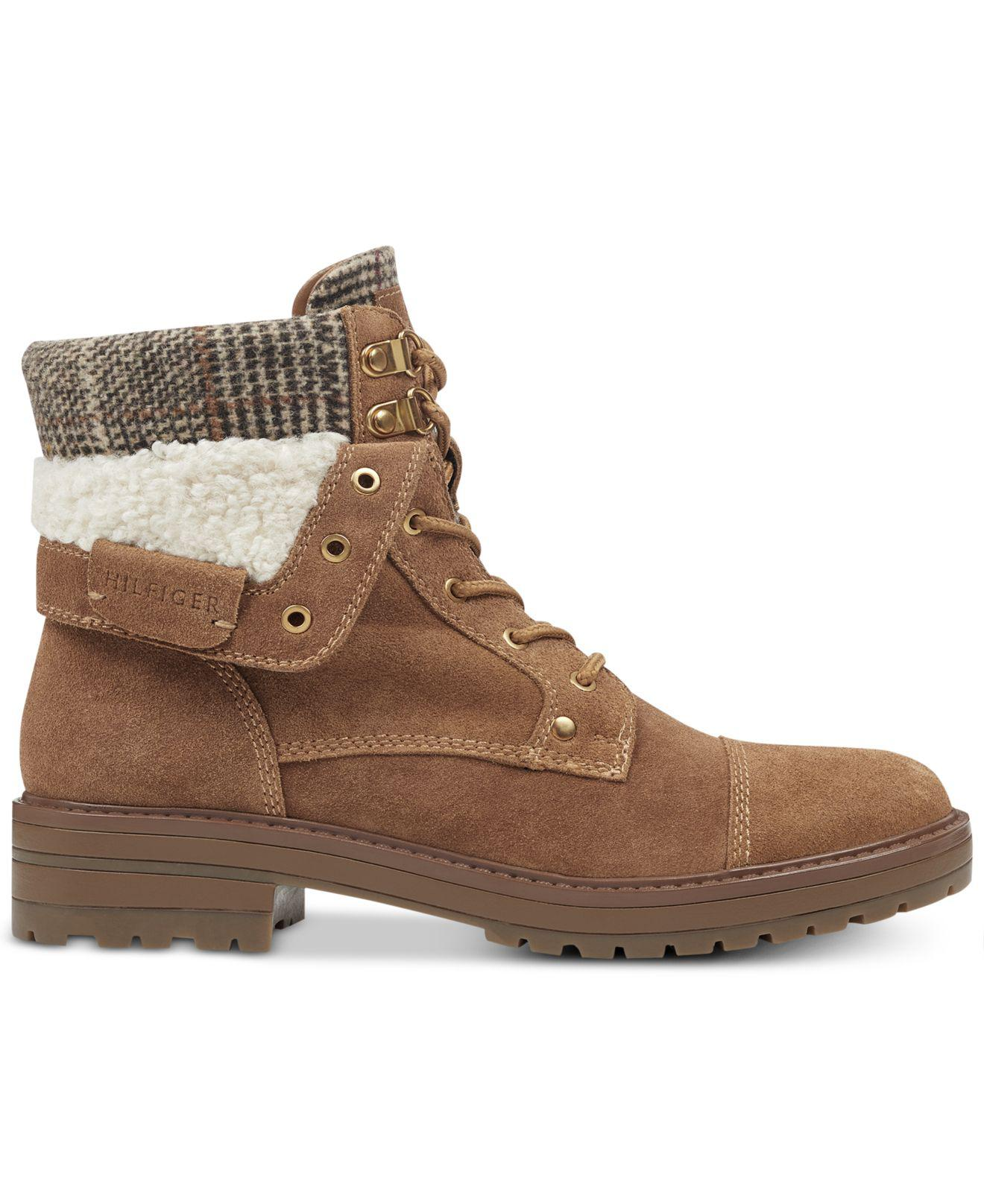 eccafb69c10846 Lyst Tommy Hilfiger Dyan Lace Up Winter Boots In Brown