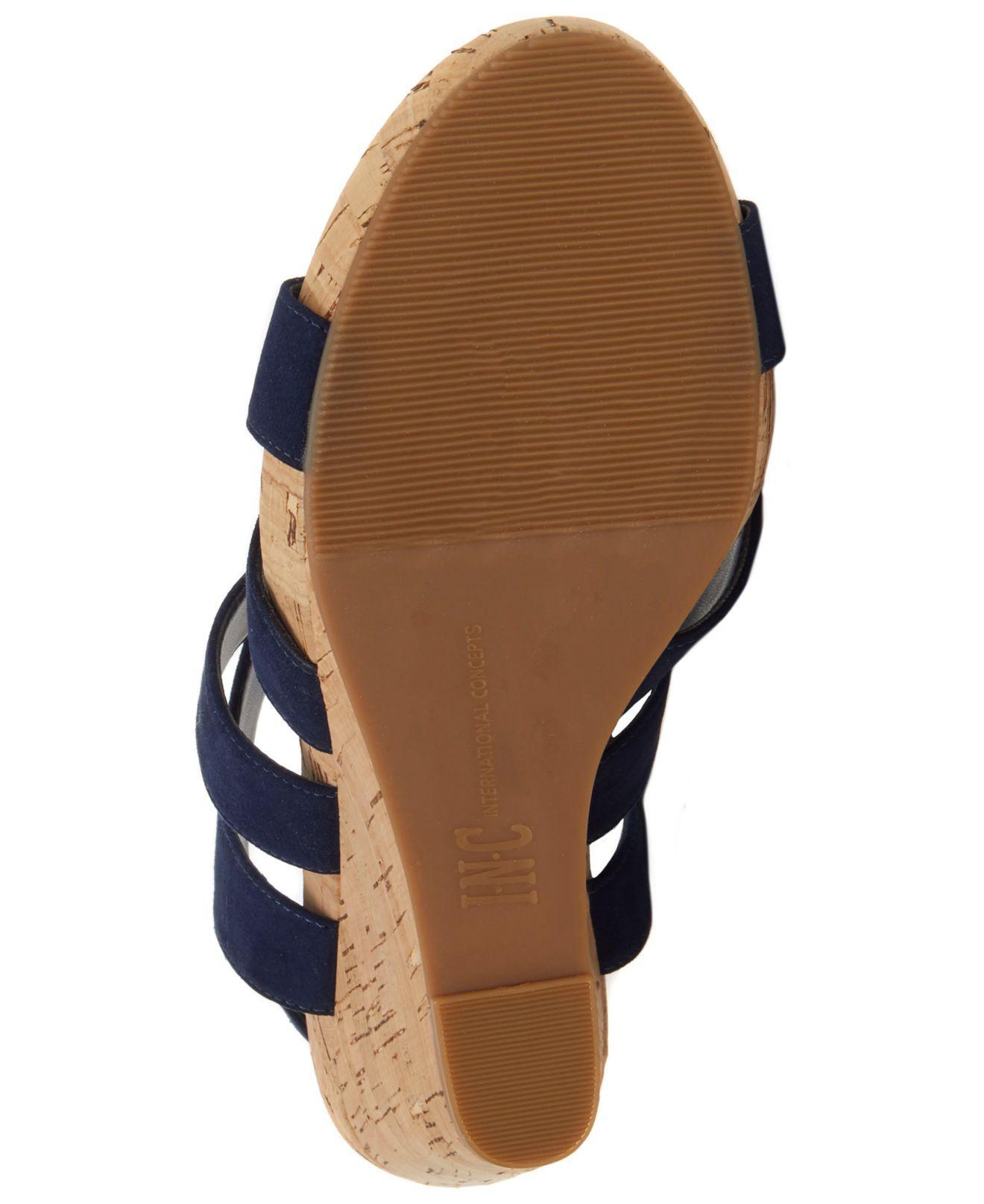 ee0a2c83ea66 INC International Concepts - Blue Women s Landor Strappy Wedge Sandals -  Lyst. View fullscreen