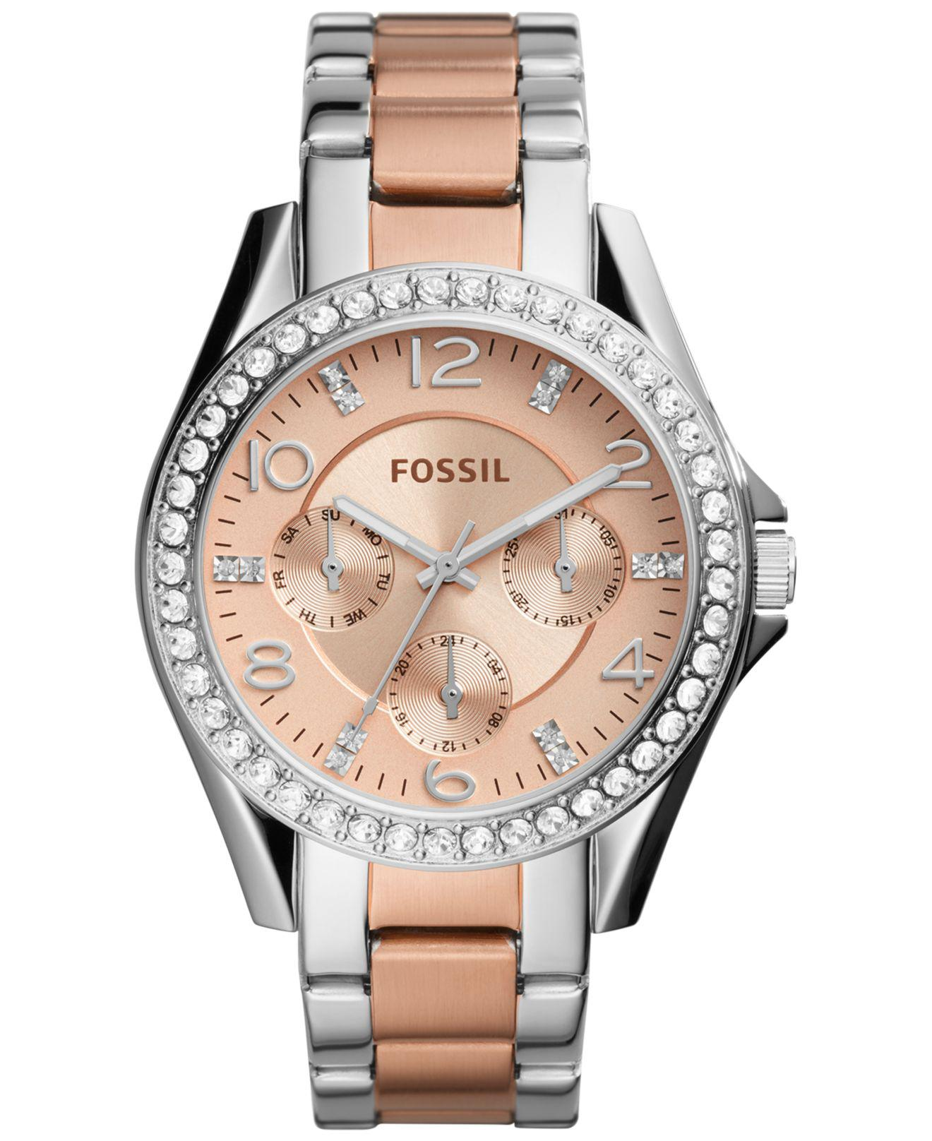45b5e6c24311 Lyst - Fossil Women s Riley Two-tone Stainless Steel Bracelet Watch ...