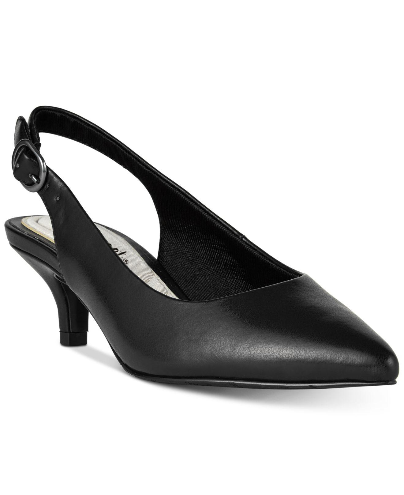cbfcb4fa669 Lyst - Easy Street Faye Slingback Kitten-heel Pumps in Black