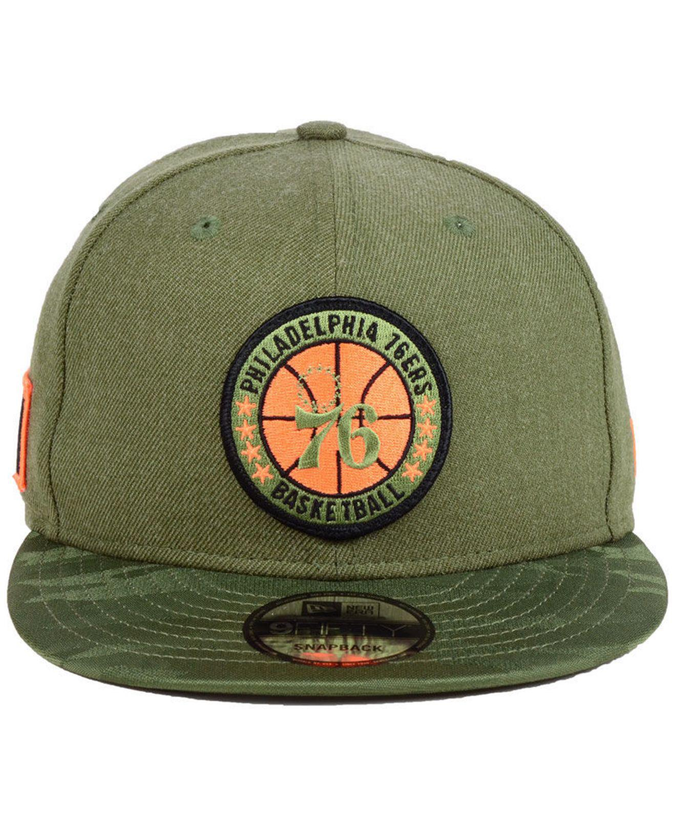 huge selection of c1748 9d2b5 ... real lyst ktz philadelphia 76ers tip off 9fifty snapback cap in green  for men a9405 d9a94