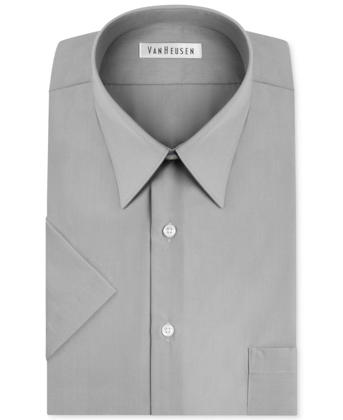 Lyst van heusen dress shirt white poplin short sleeved for Van heusen men s short sleeve dress shirts
