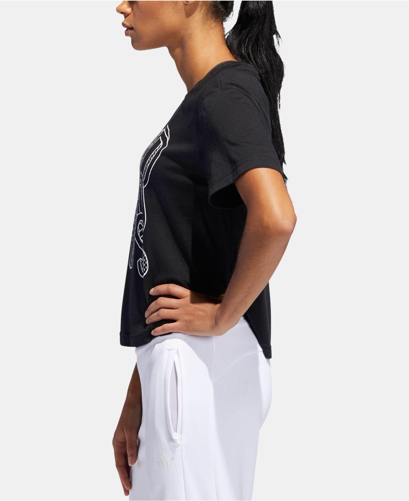26190ba6716 Adidas - Black Logo-graphic Climalite® Cropped T-shirt - Lyst. View  fullscreen