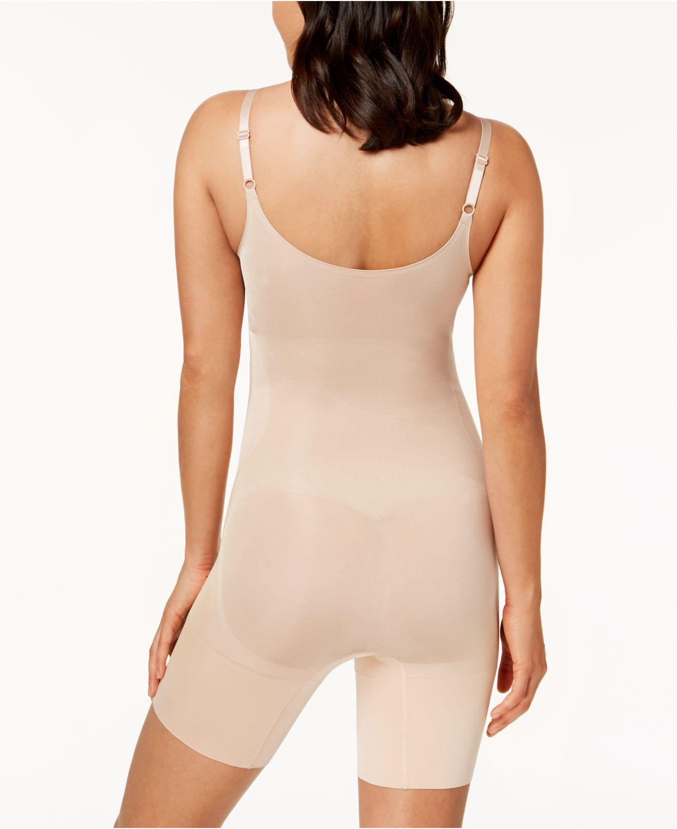 6db462bc4e Lyst - Spanx Oncore Open-bust Mid-thigh Bodysuit 10130r in Natural