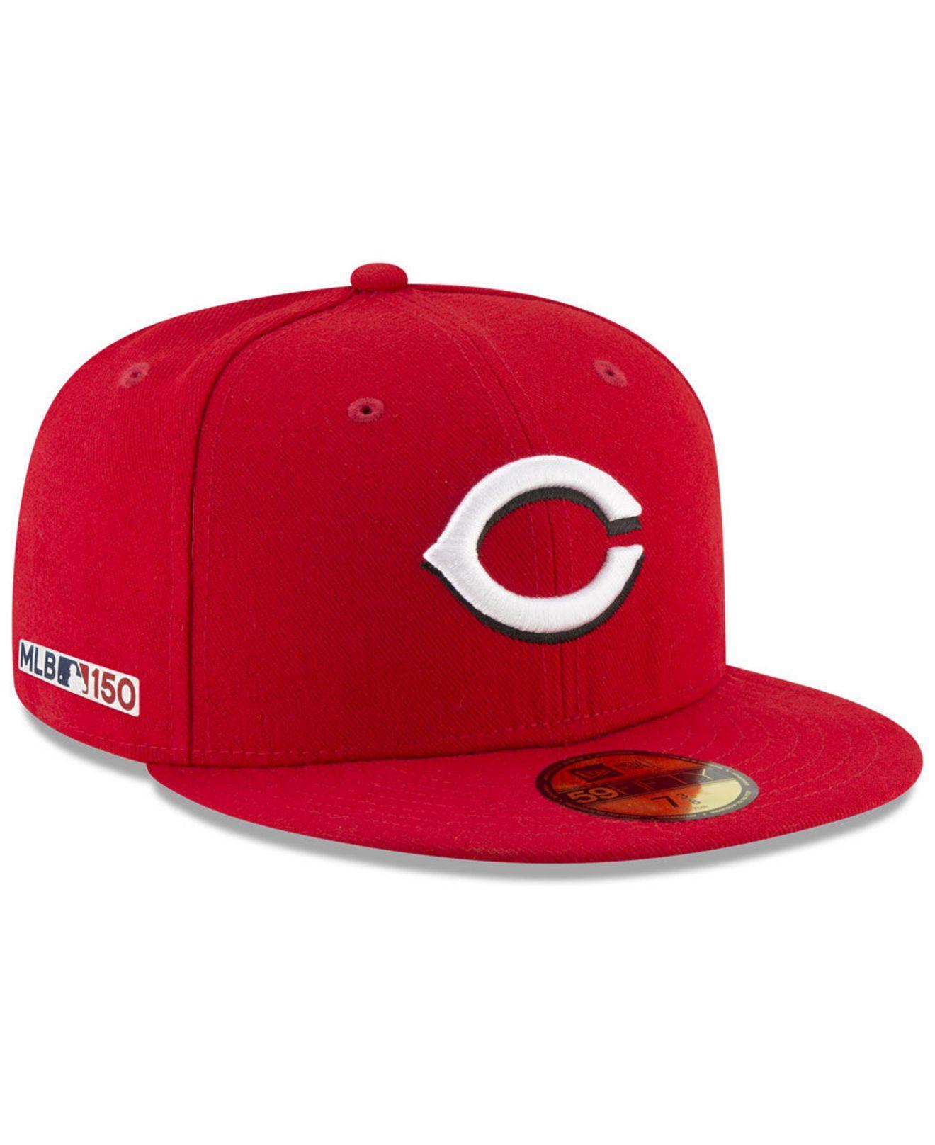 watch 4936f 7eac1 KTZ. Men s Cincinnati Reds 150th Anniversary 59fifty-fitted Cap