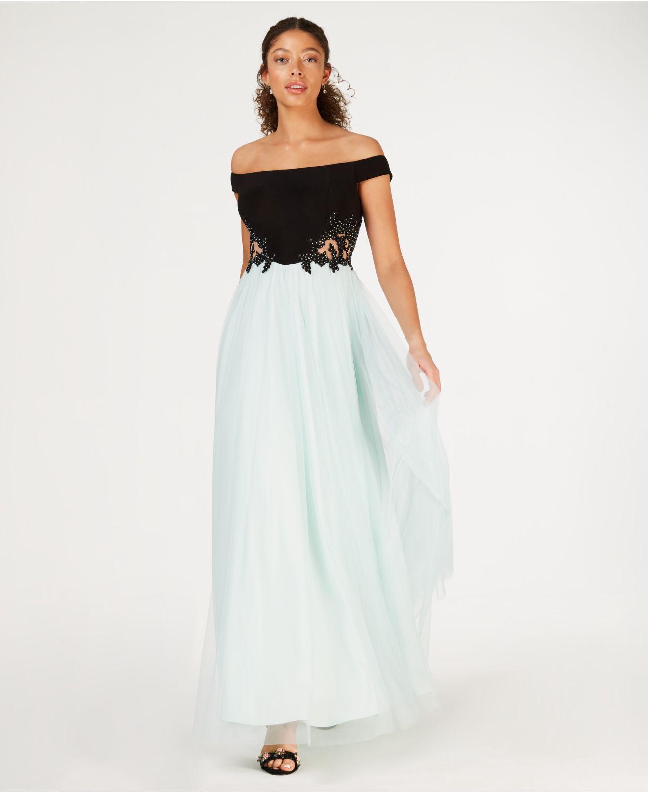 ae8bb22eb Blondie Nites Juniors' Off-the-shoulder Appliqué Gown in Black - Lyst