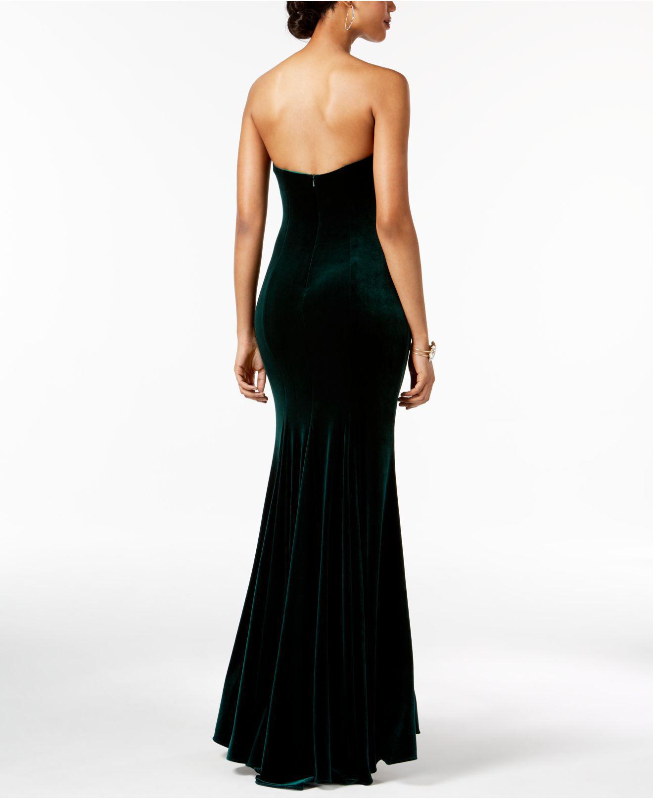 Lyst - Betsy & Adam Strapless Velvet Slit Gown in Black