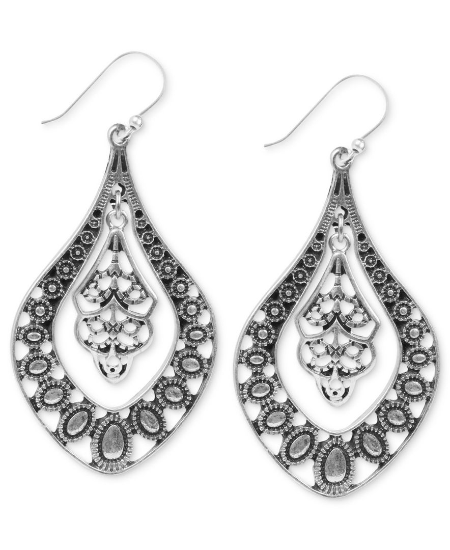 Lucky brand earrings silver tone filigree oblong earrings for Macy s lucky brand jewelry