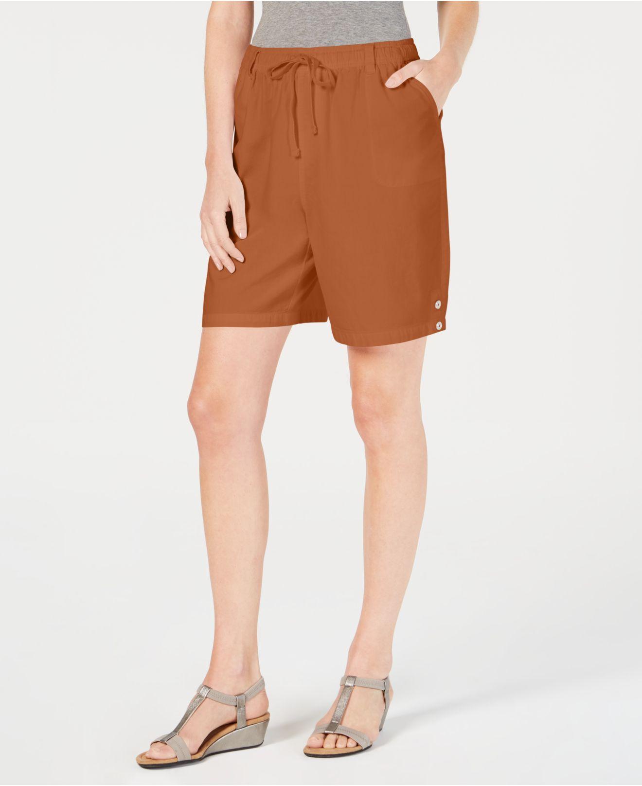 4d6100500ff Lyst - Karen Scott Cotton Drawstring Shorts
