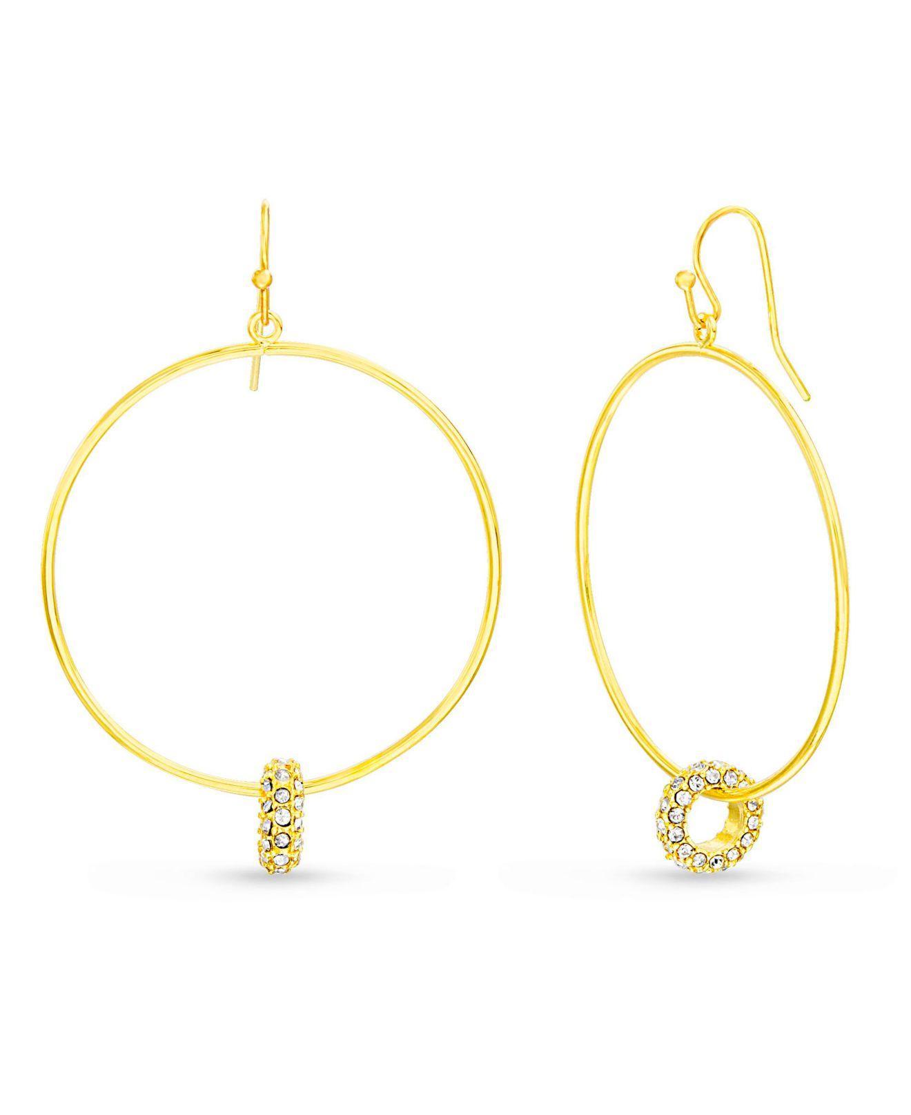 5023627c0c0364 Lyst - Kensie White Rhinestone Interlocking Circle Yellow Gold-tone ...
