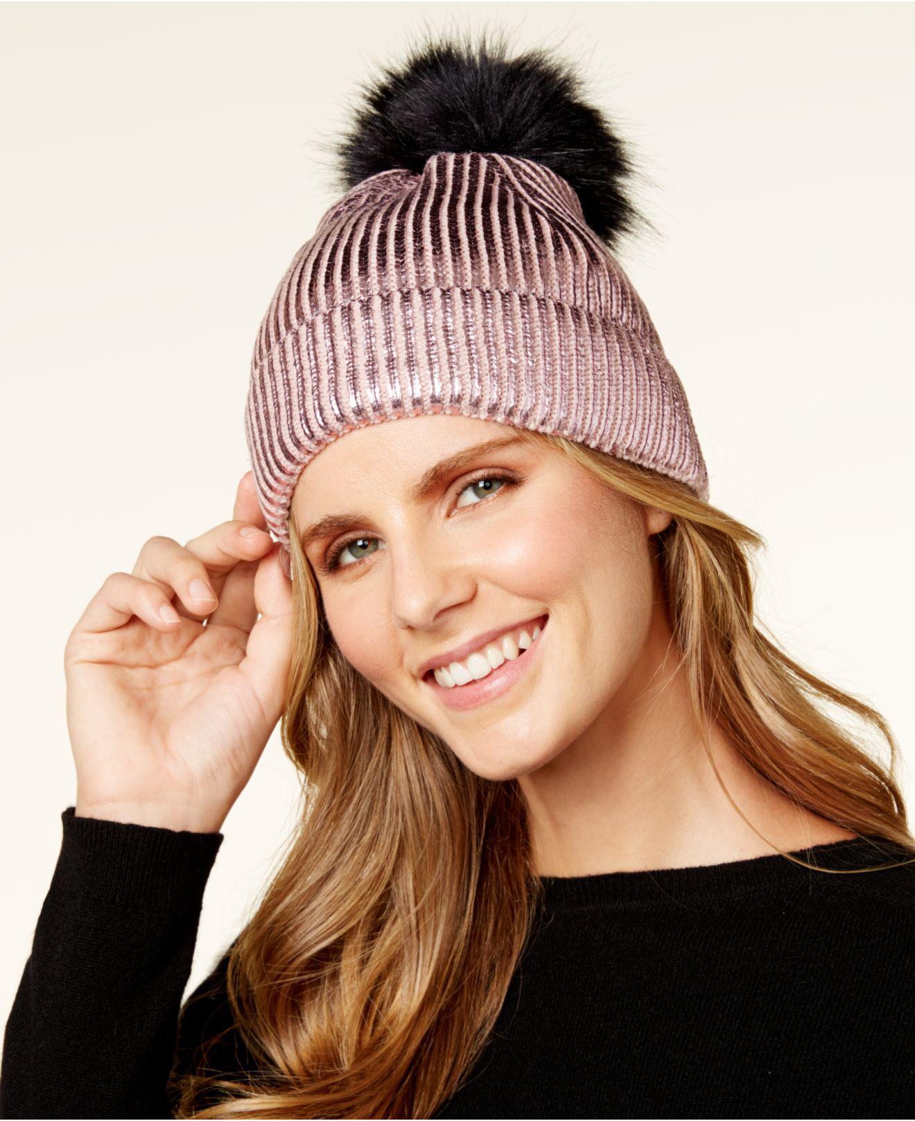 9837463127c5f1 Steve Madden Solid Metallic-knit Cuff Beanie - Lyst