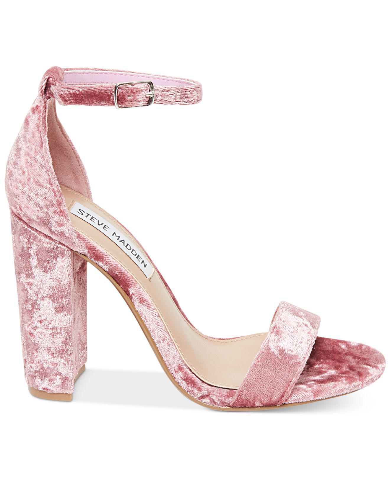 46792e22f79a Lyst - Steve Madden Women s Carrson Crushed Velvet Dress Sandals in Pink