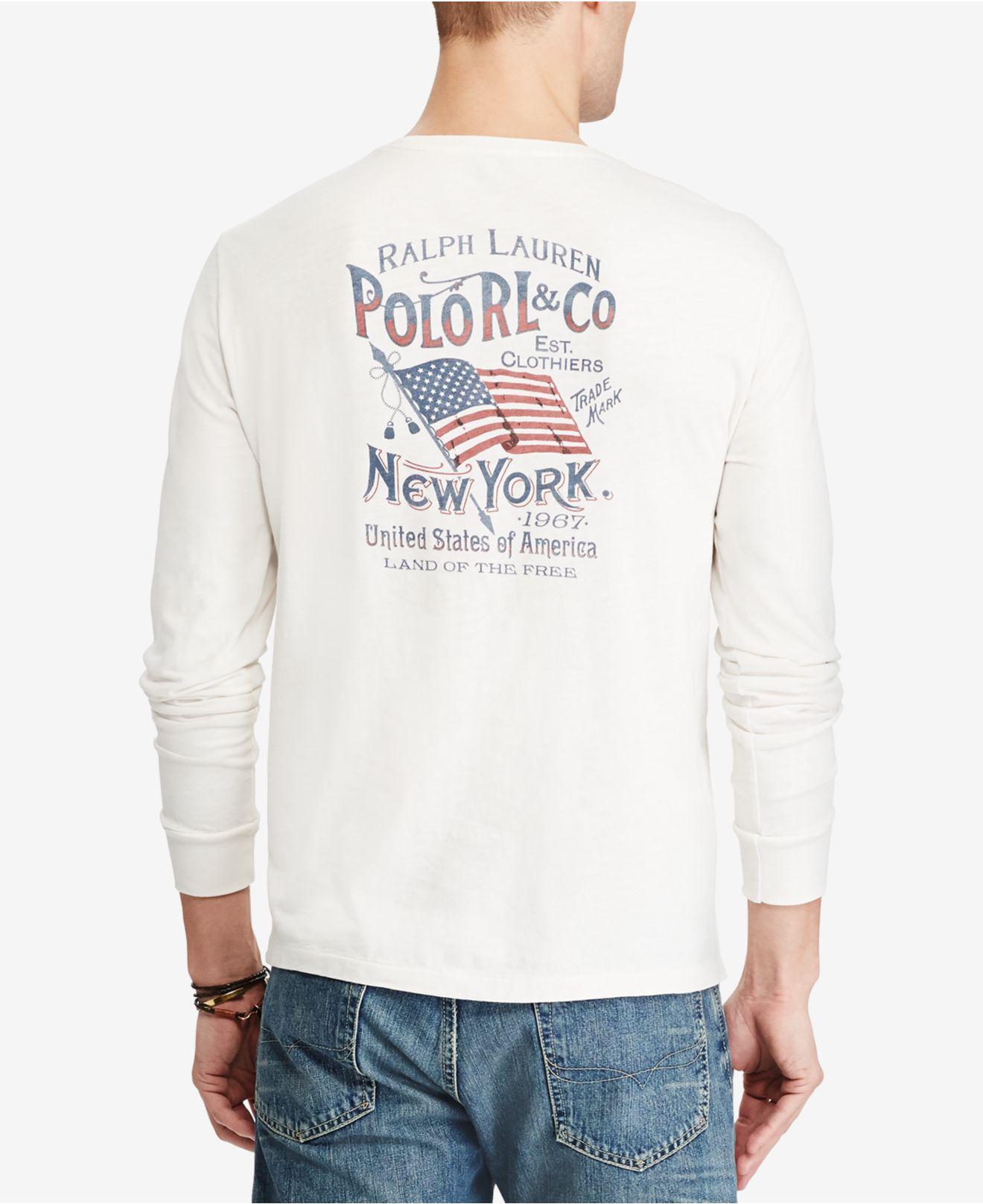 57caeaa27f03 ... top quality lyst polo ralph lauren mens custom slim fit long sleeve  cotton t 1ed66 62b78 ...
