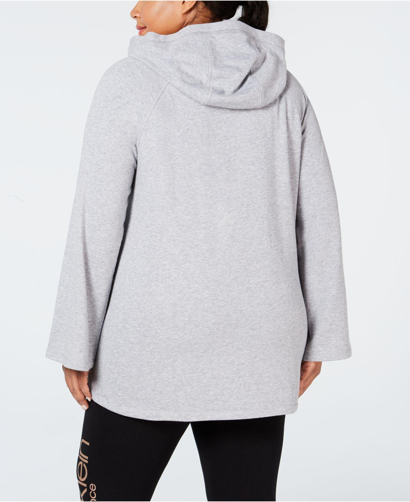 ce7b463e8a0 Lyst - Calvin Klein Performance Plus Size Velour-trimmed Cowl-neck Hoodie  in Gray