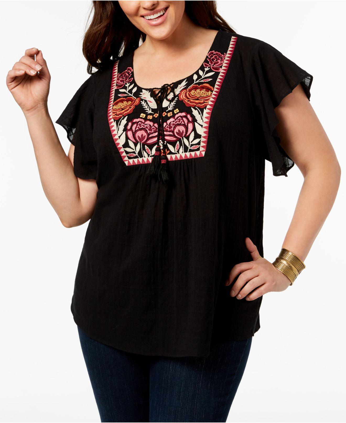 0e40dd118728e3 Lyst - Style & Co. Plus Size Cotton Gauze Embroidered Peasant Top ...