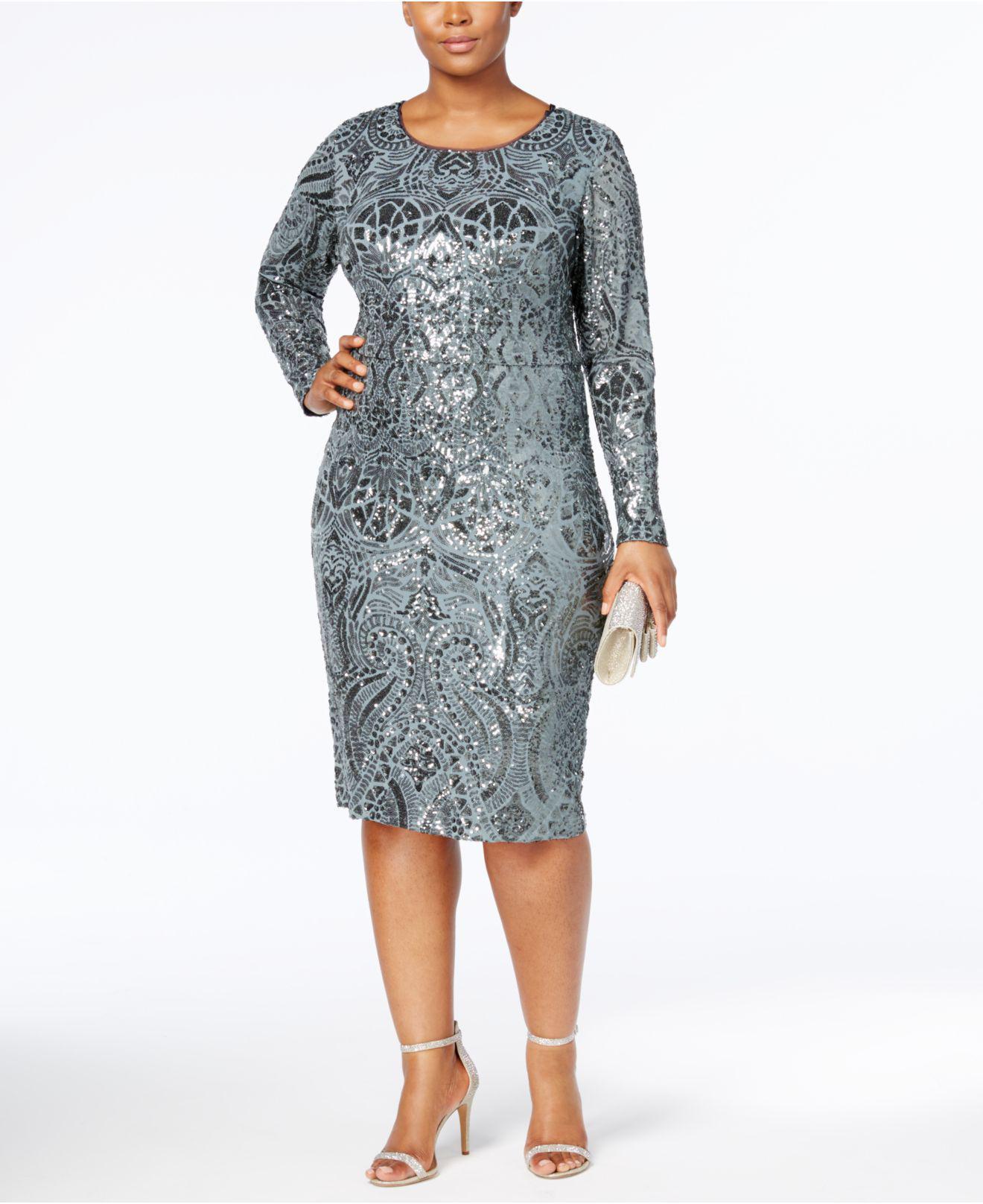 Betsy & Adam Plus Size Sequined Sheath Dress - Lyst