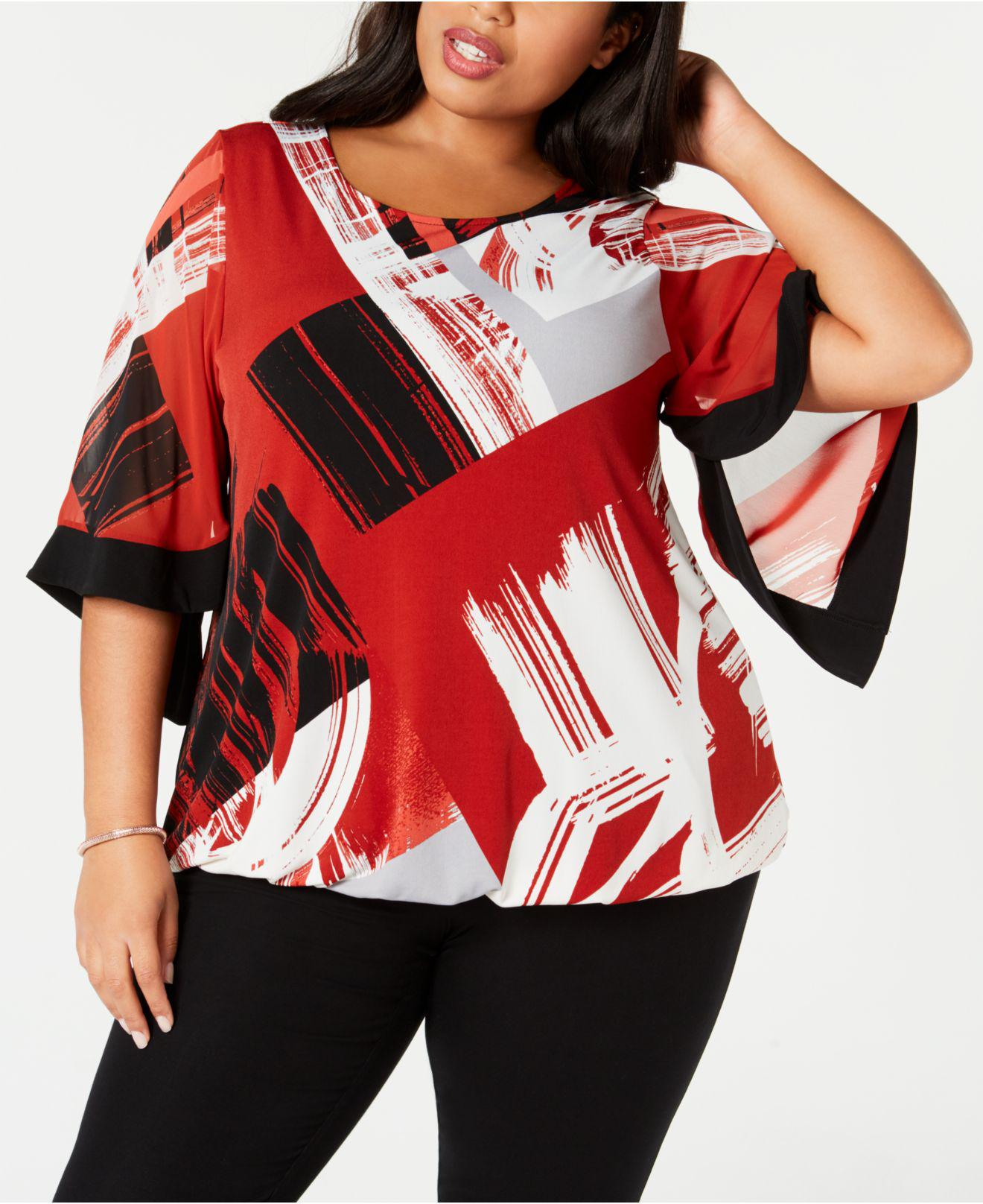 3eb86b28c54 Alfani. Women s Red Plus Size Printed Square-sleeve Top ...