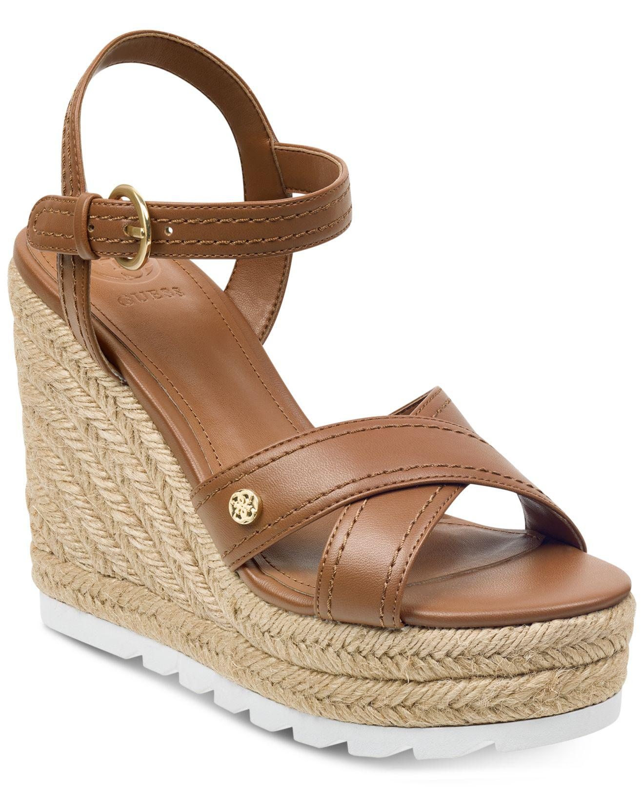 7078c215bba Lyst - Guess Genisi Espadrille Wedge Sandals in Brown