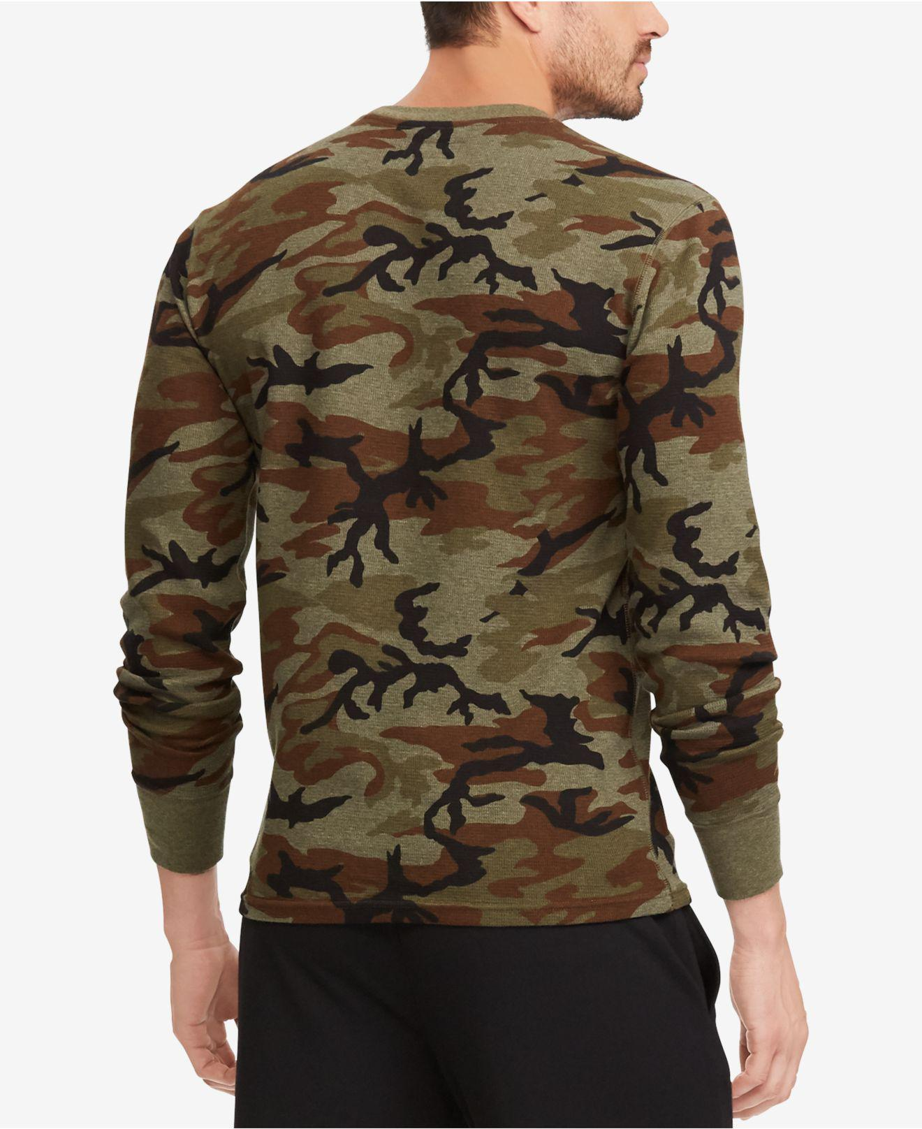 397c14952 Lyst - Polo Ralph Lauren Camo Print Waffle-knit Thermal in Green for Men