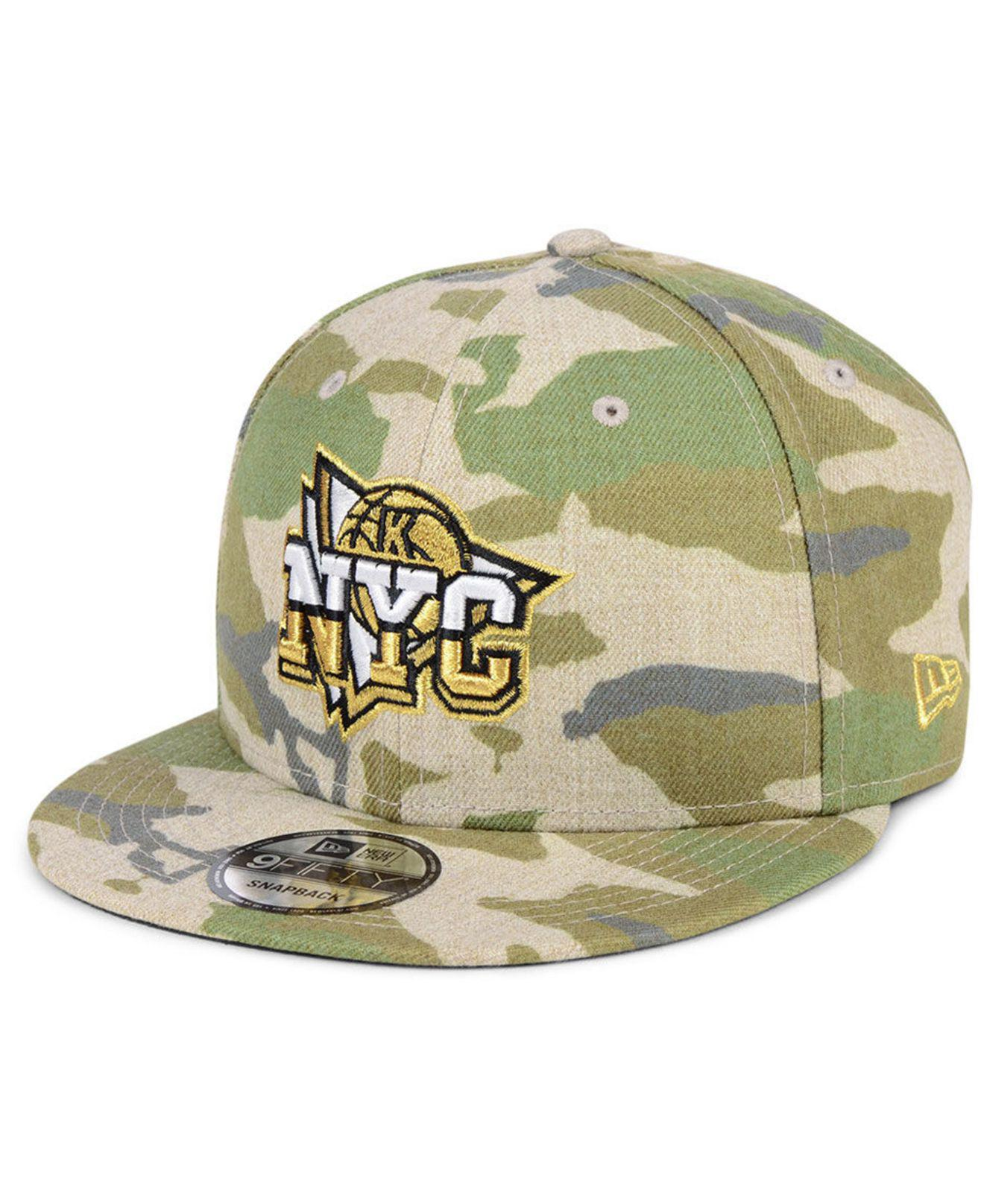 check out 04573 4692a Lyst - KTZ New York Knicks Combo Camo 9fifty Snapback Cap in Green ...