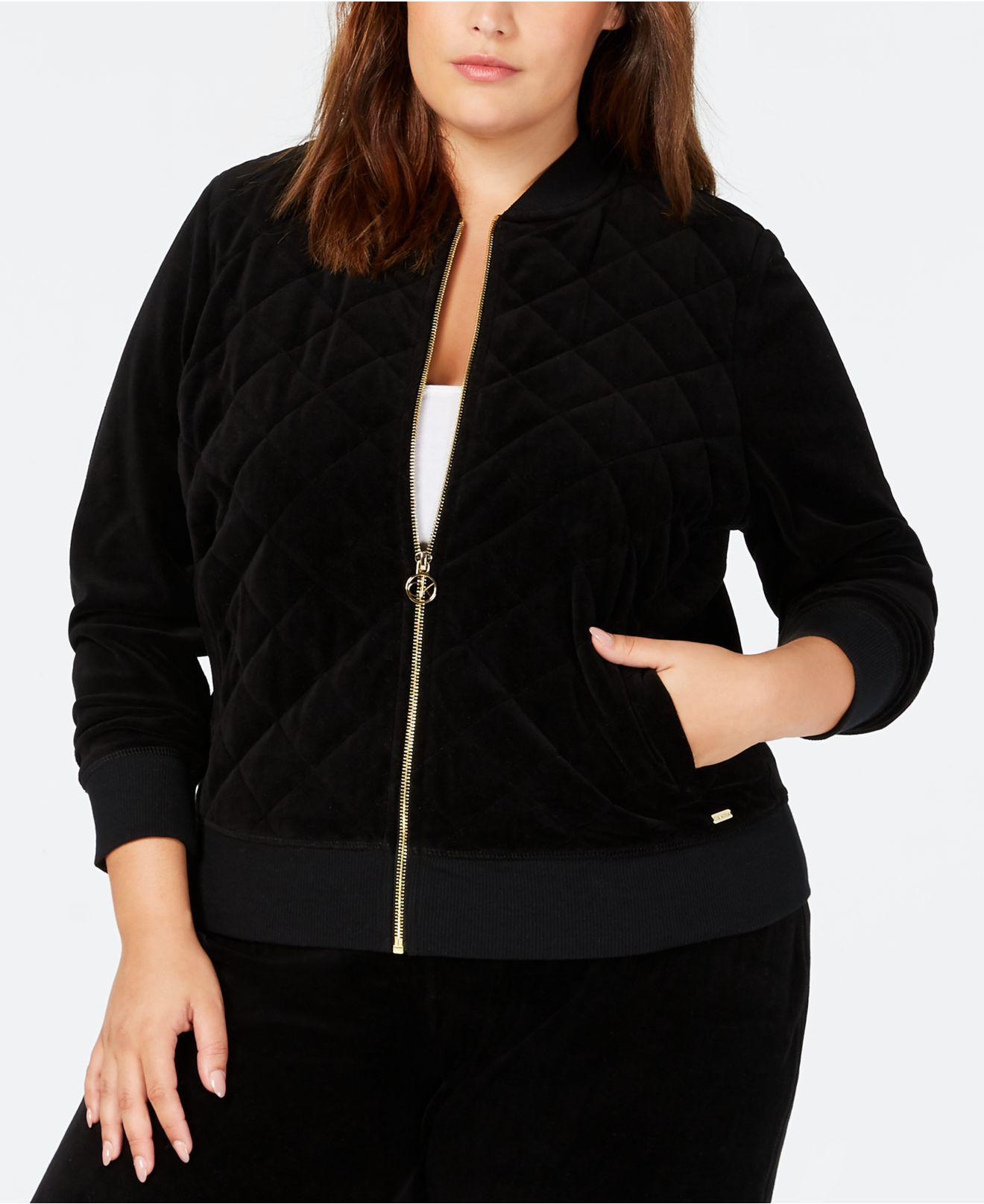 2049141ac43 Lyst - Calvin Klein Plus Size Velour Track Jacket in Black