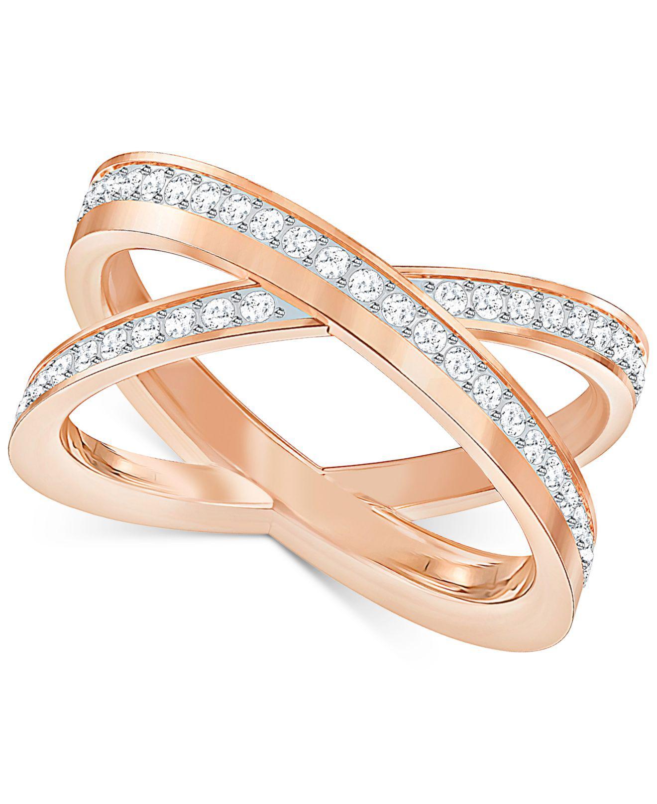 4d1e9a161 Swarovski Crystal Crisscross Ring in Metallic - Lyst